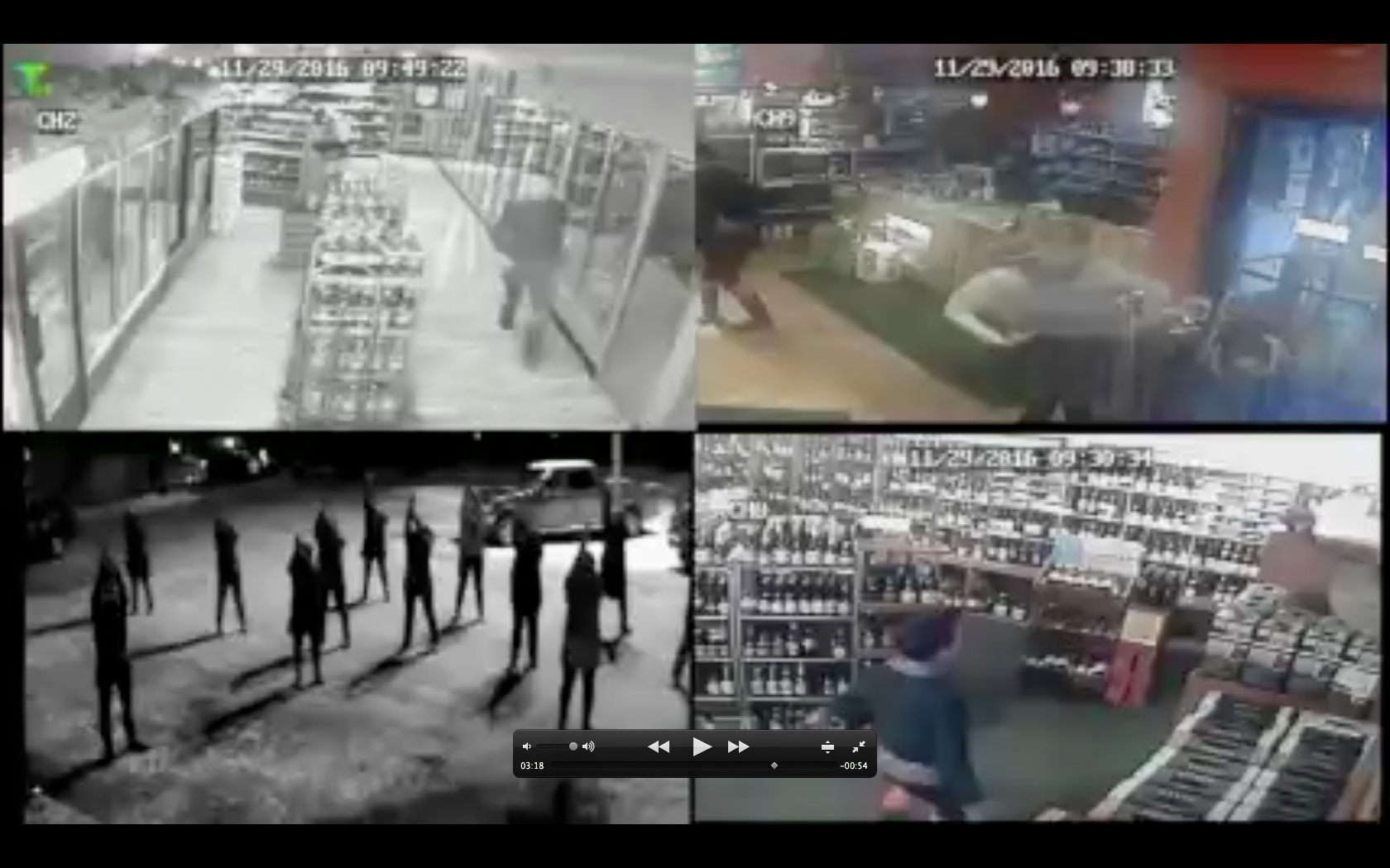 Dancers do a flash mob dance recorded by surveillance cameras at local Homer businesses and city buildings.