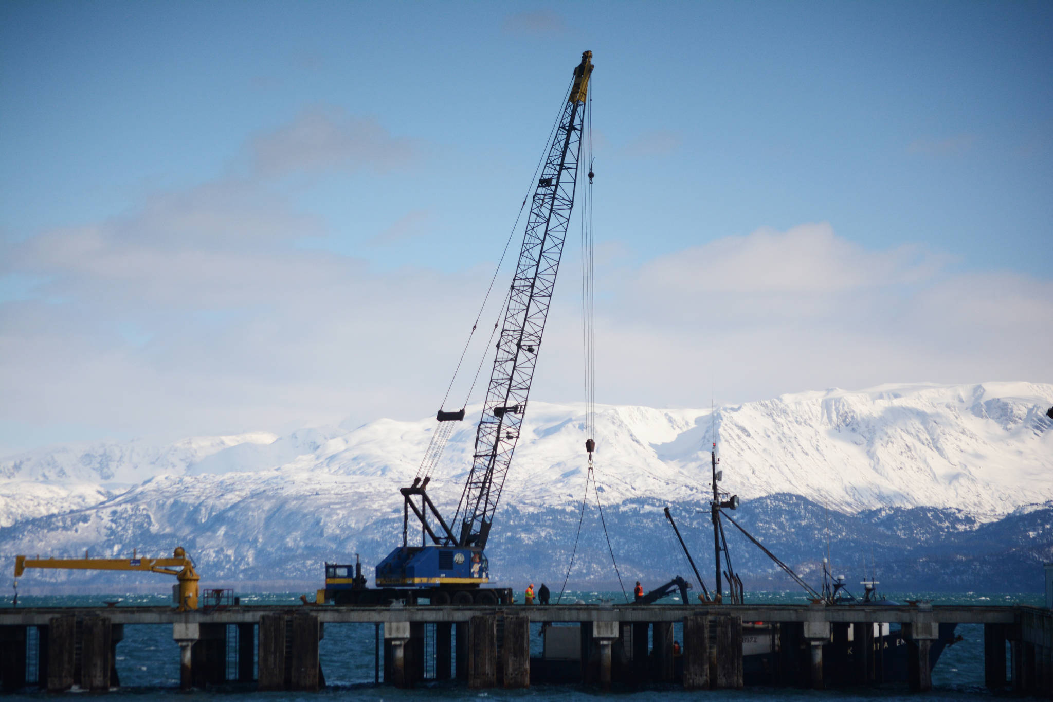 A boat is loaded at the Deep Water Dock on Tuesday afternoon at the Homer Harbor.