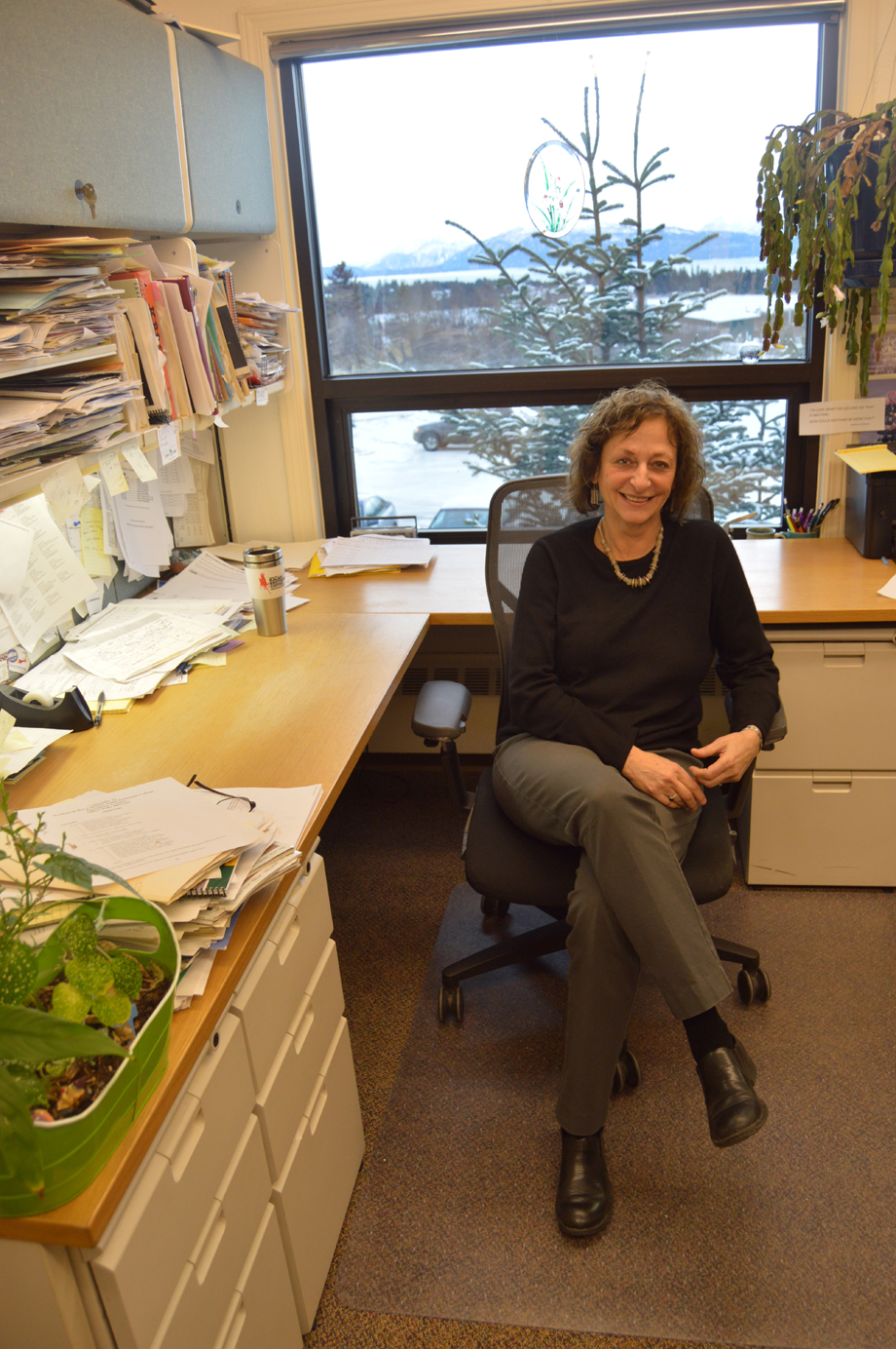 Kachemak Bay Campus Director Carol Swartz takes a break in a busy day to talk about her work. Swartz recently was honored by the Alaska Adult Education Association for her outstanding long-term contribution to lifelong learning.-Photo by Annie Rosenthal, Homer News
