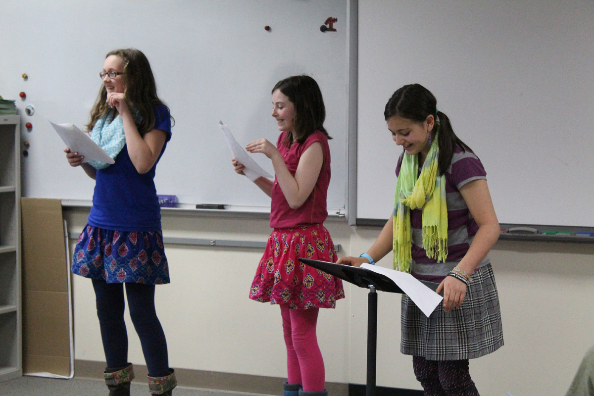 """McNeil Canyon Elementary sixth-graders Sailey Rhodes, Neviya Reed and Melanie Morris won first place in the 6th grade interpretive reading, multiple category for their performance of """"Those Darn Squirrels"""" at the Kenai Peninsula Borough School District Forensics Competition. The girls received the highest marks out of all the performances at the competition.-Photo by Anna Frost, Homer News"""