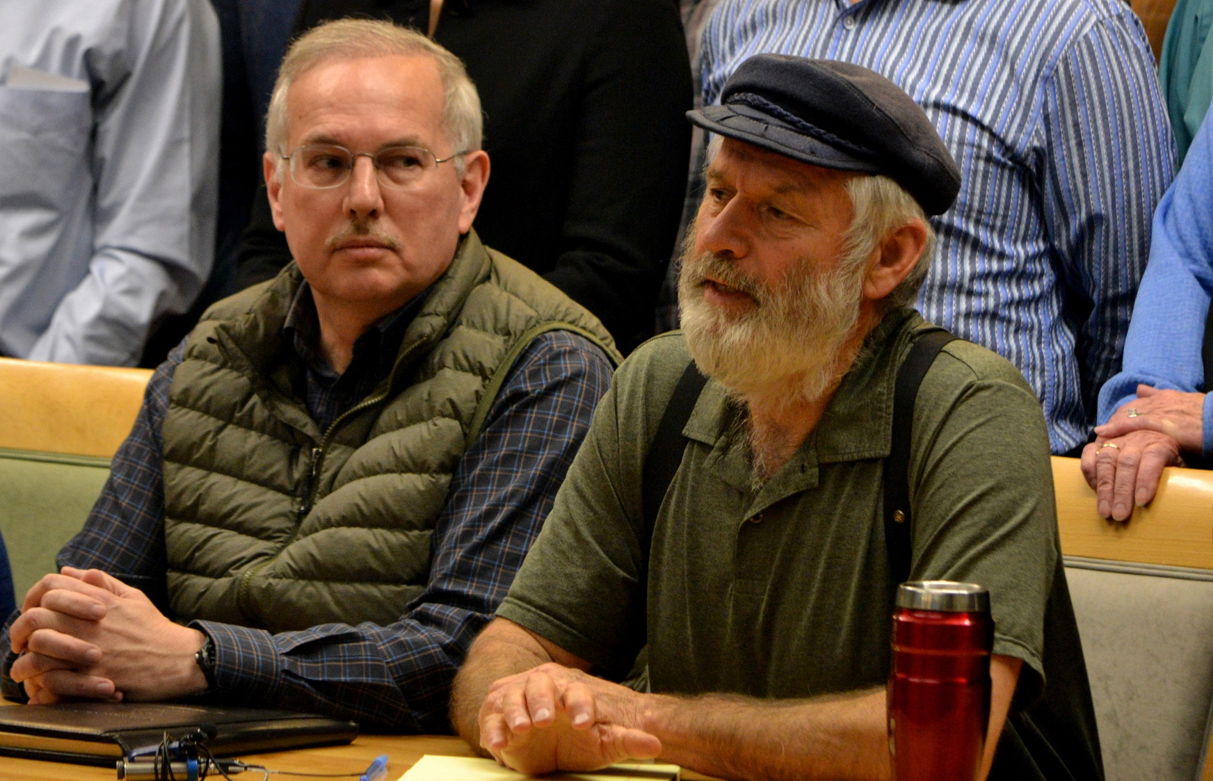 Rep. Paul Seaton, R-Homer, right, sits next to Speaker of the House Bryce Edgmon, D-Dillingham, at a meeting Nov. 9 announcing the new bipartisan House Majority Caucus.-Photo by Mike Mason