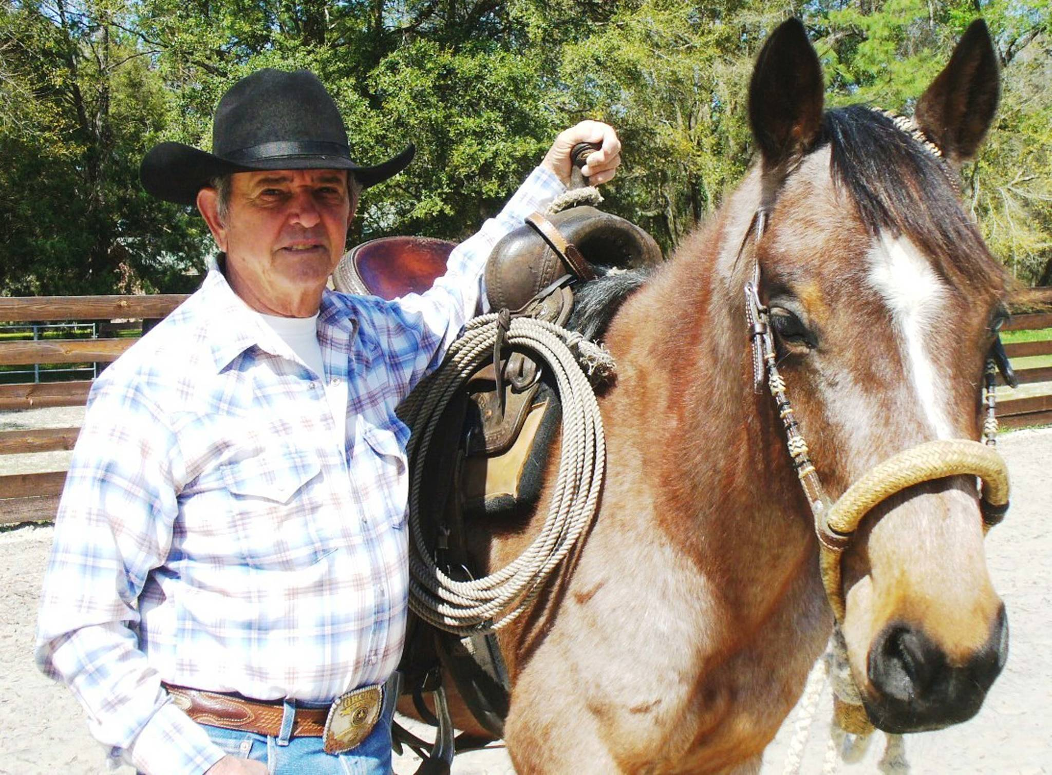 """Author of """"Alaska Challenge,"""" Ralph Galeano poses with his horse, Billy Boonsmal."""