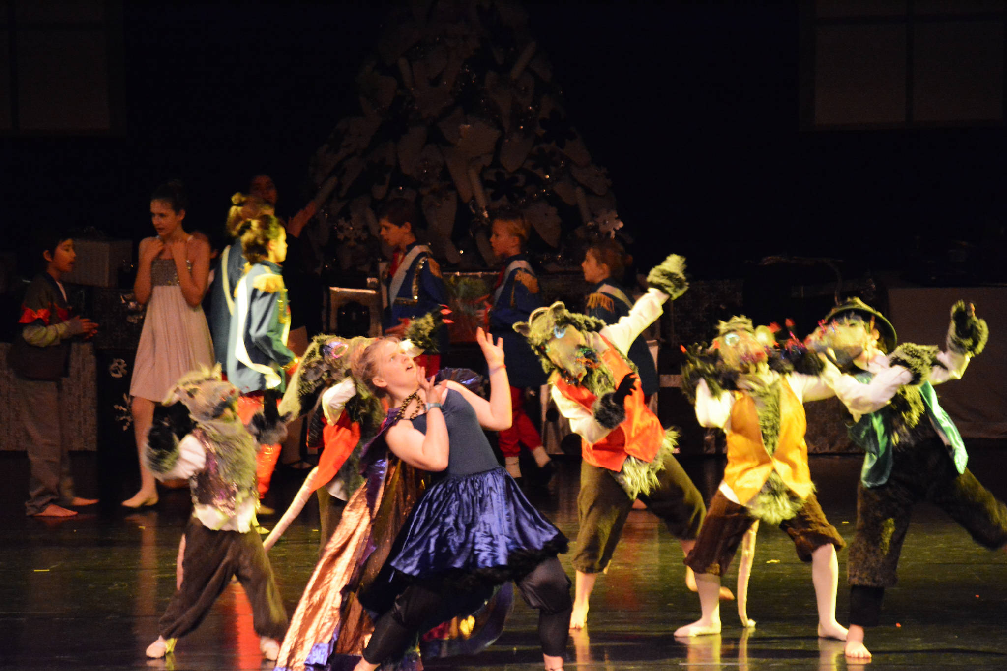Daisy Kettle as Mistress Mousie, center, rehearses a scene with the rat army at the Mariner Theatre Friday, Nov. 24, 2017 in Homer, Alaska for the Nutcracker Ballet. (Photo by Michael Armstrong, Homer News)