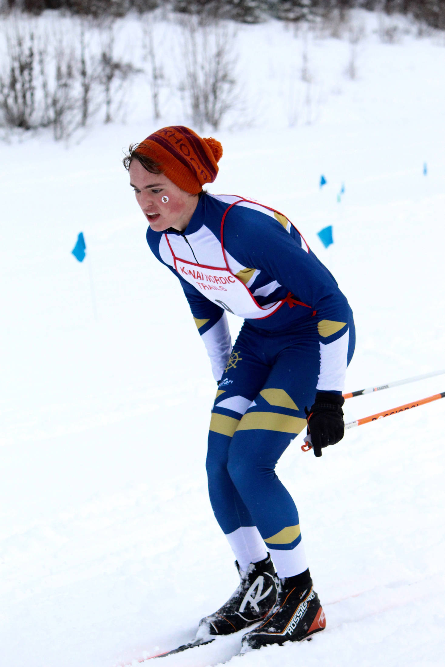 Homer's Denver Waclawski traverses a course at Tsalteshi Trails during the Tsalteshi Classic Invitational on Tuesday, Dec. 5, 2017 in Soldotna, Alaska. Five of Homer's 10 skiers were awarded ribbons during the impromptu meet. (Photo by Jessie Fabich)