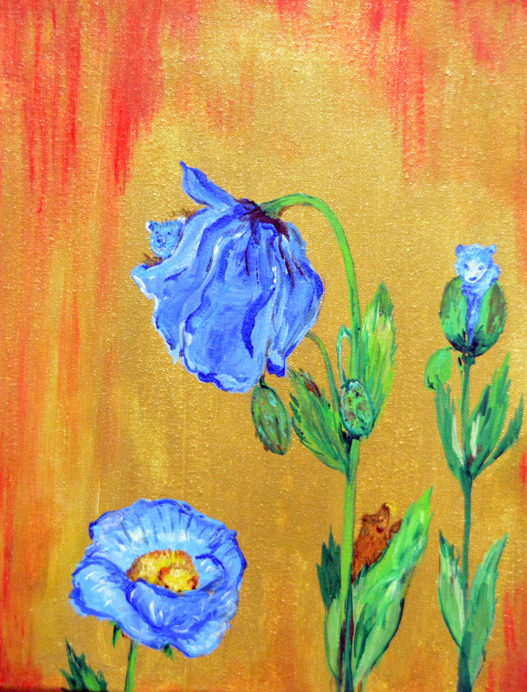 """One of Homer artist Julianne Tomich's paintings from her show, """"Bears in Flowers,"""" at Grace Ridge Brewery."""