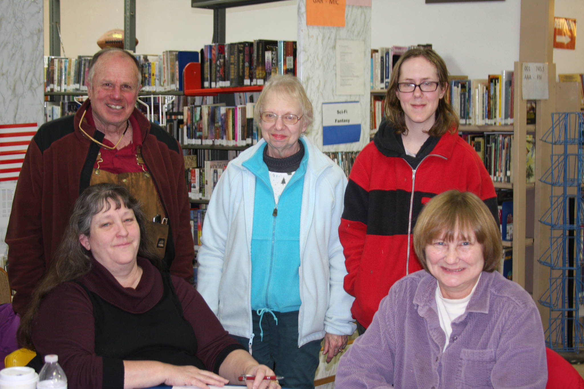 Anchor Point Library Board members are, from left to right, Deanna Thomas, Bob Craig, Lora Craig, Adriane Appelhanz, Mary Perry. Anchor Point Public Library board members met on Jan. 6, 2018 to begin planning this year's Cabin Fever Variety Show in Anchor Point, Alaska. (Photo by Delcenia Cosman)