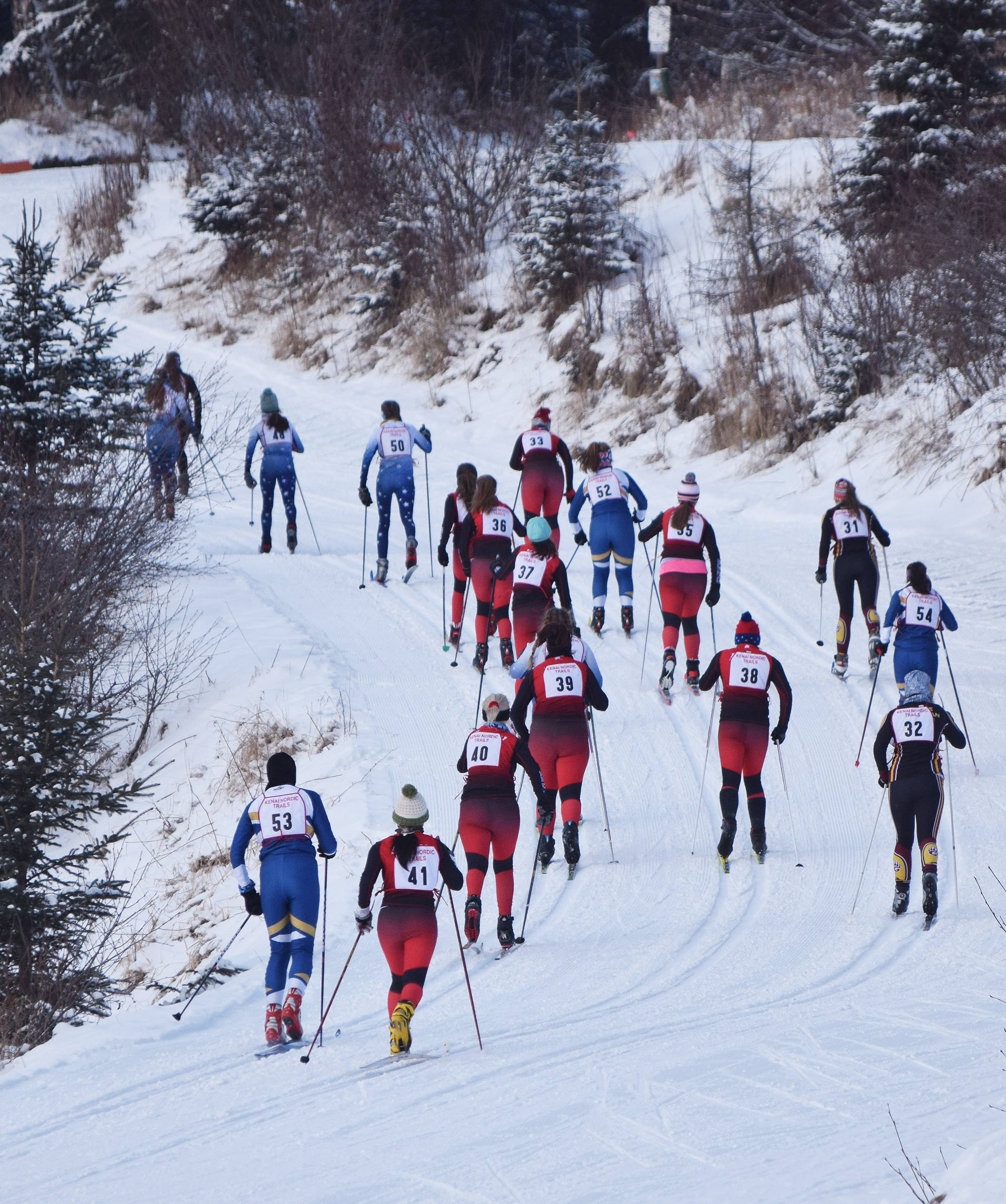 The field of girls varsity racers climb up a hill early in the Kenai Klassic races Friday afternoon at the Tsalteshi Trails in Soldotna. (Photo by Joey Klecka/Peninsula Clarion)