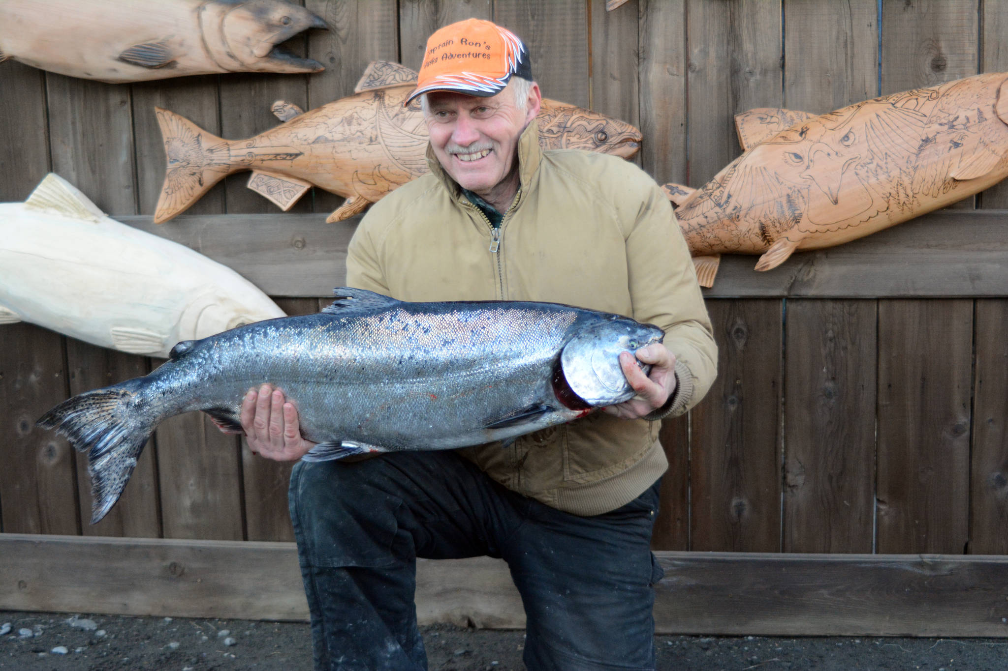Ron Johnson holds his winning king salmon of 25.65 pounds, at the 24th annual Homer Winter King Tournament on Saturday, March 23, 2017. One-thousand and 12 anglers registered in the tournament in 314 boats, catching 110 king salmon weighing 1,584 pounds total. Anglers also caught 27 white kings weighing 438 pounds total. (Photo by Michael Armstrong, Homer News).
