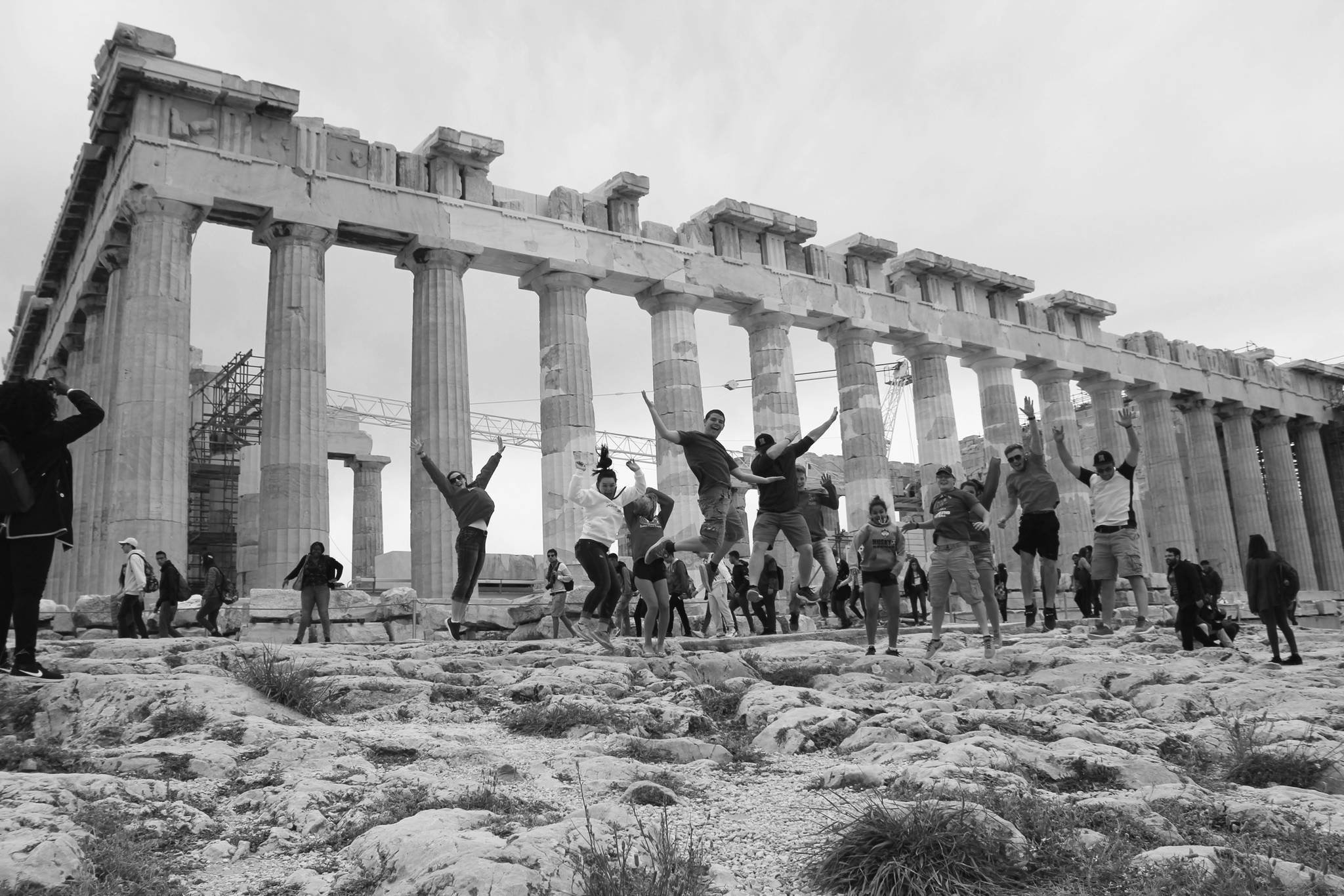 Photo provided Students from Michigan and Homer jump for joy during their recent trip to Greece in April.