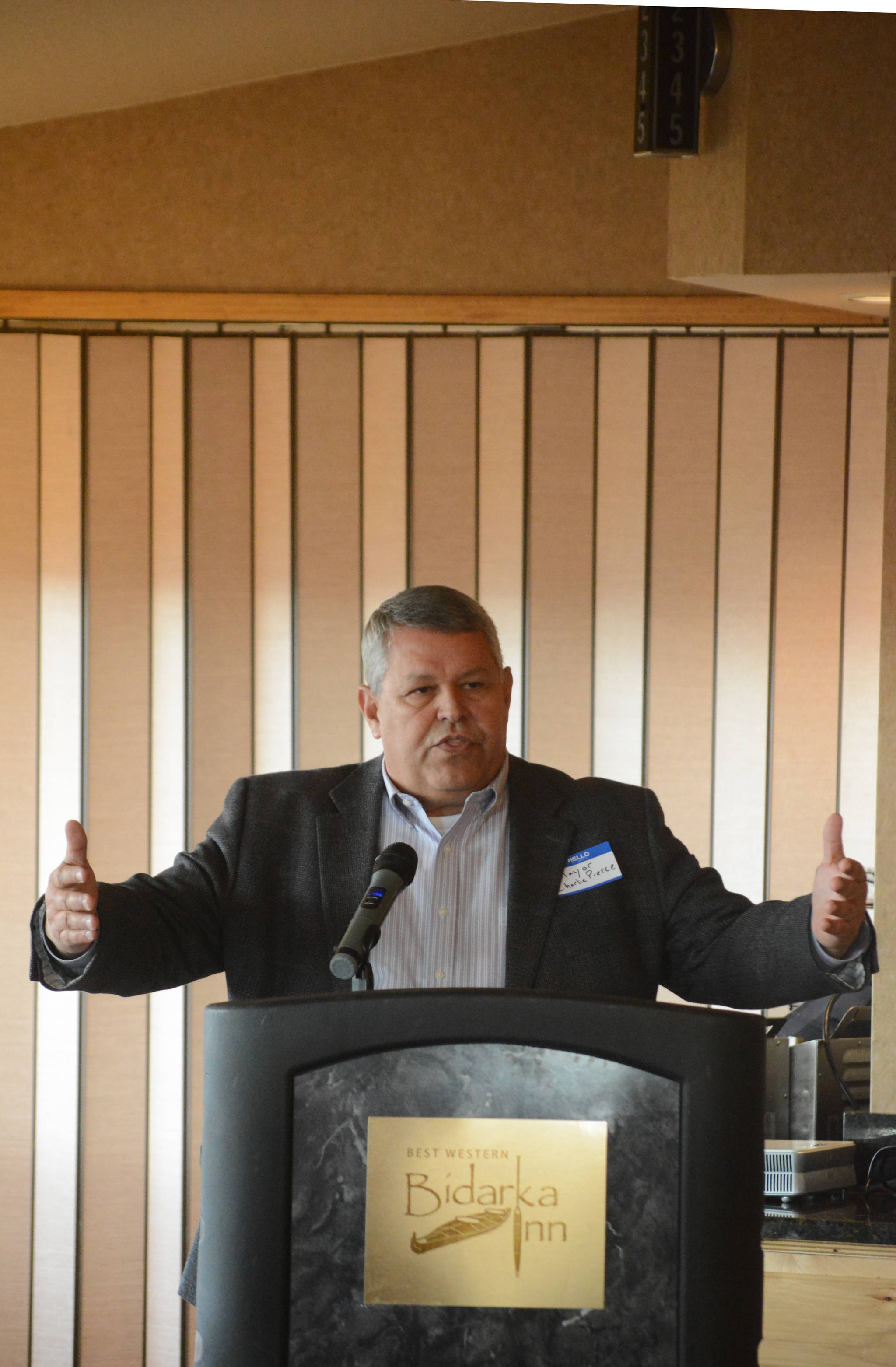 Kenai Peninsula Borough Mayor Charlie Pierce speaks at the Homer Chamber of Commerce and Visitor Center's luncheon on Tuesday, May 8, 2018, at the Best Western Bidarka Inn in Homer, Alaska. (Photo by Michael Armstrong/Homer News)