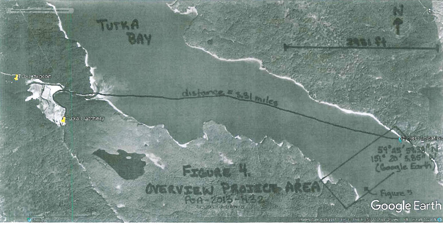 A map included in the Cook Inlet Aquaculture Association's permit application for salmon rearing net pens shows the location as closer to Tutka Bay Lagoon.