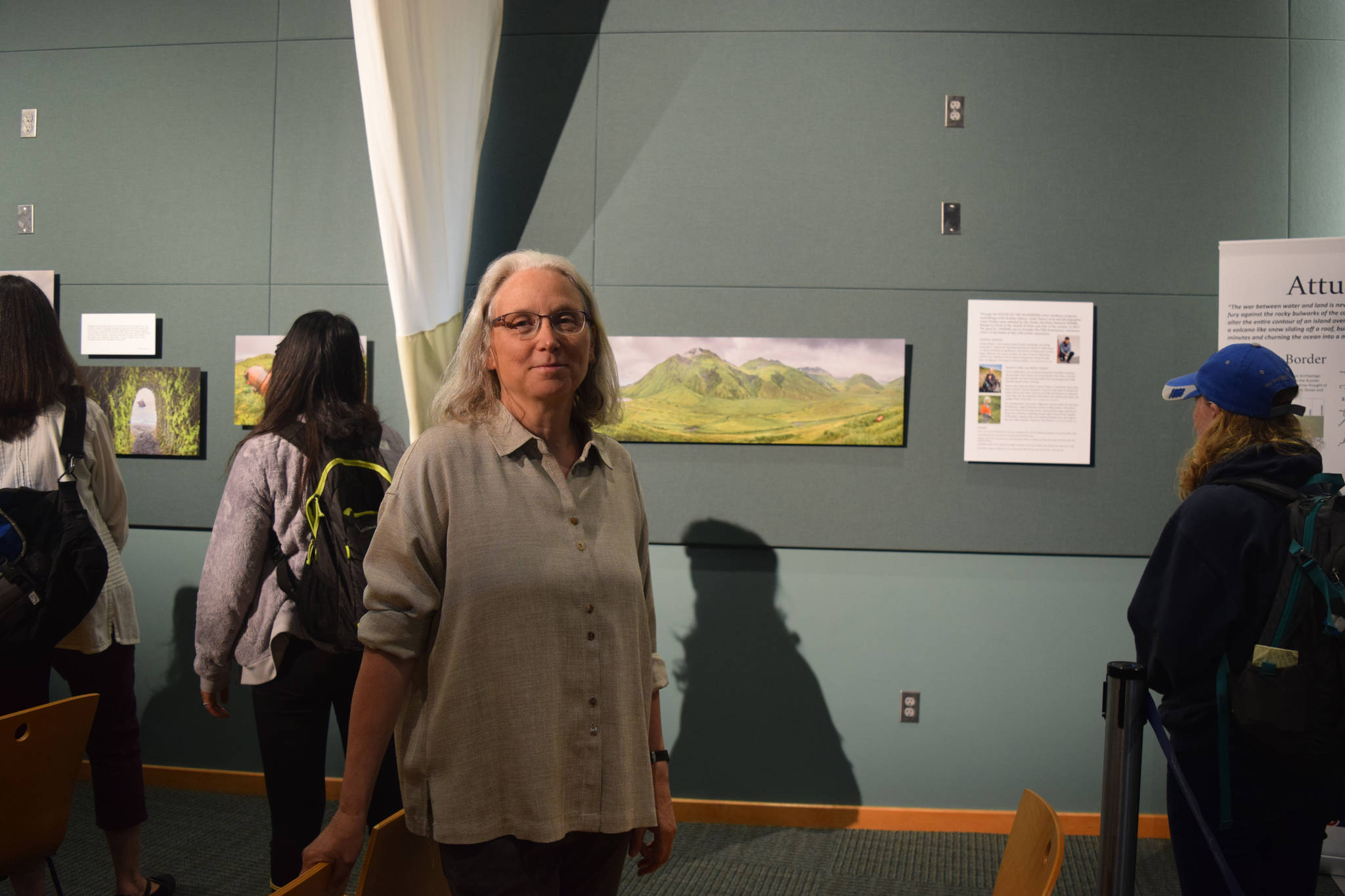 Nancy Lord at the Reflections of Attu art show on Friday, July 6, 2018 at Islands and Oceans Visitor Center in Homer, Alaska. (Photo by Jennifer Tarnacki)