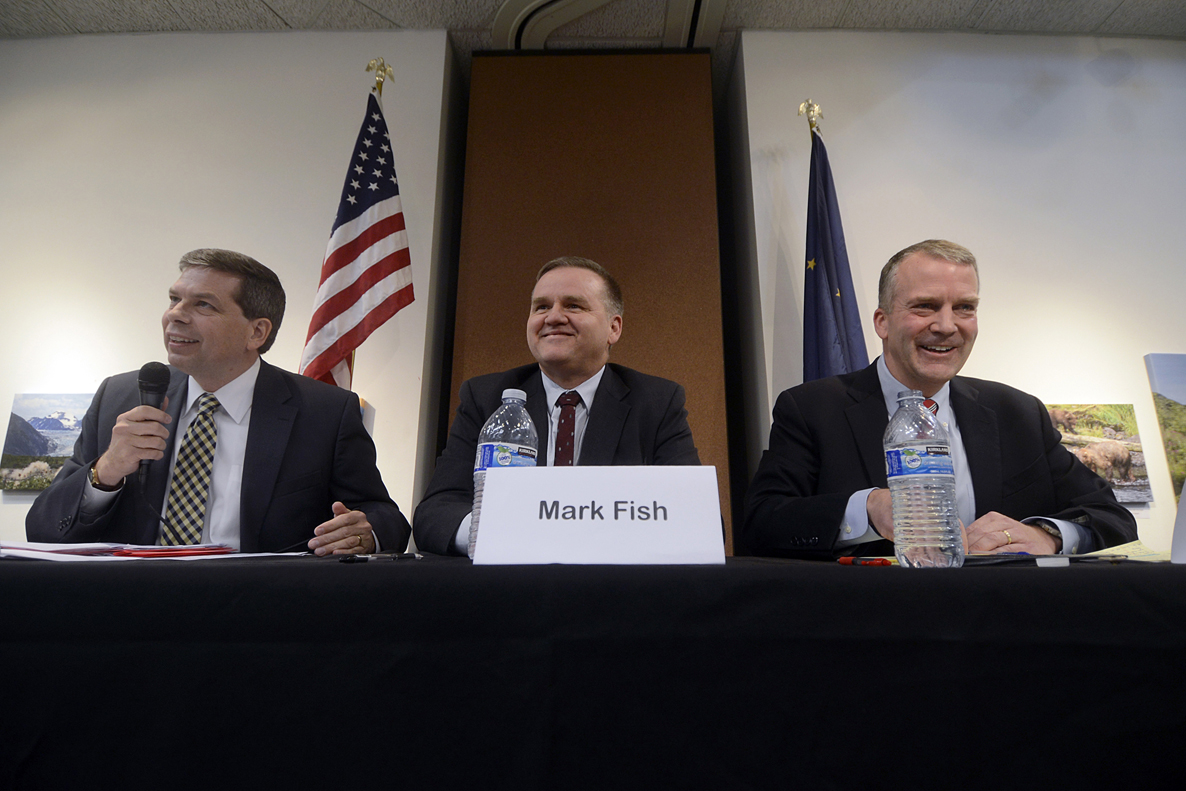 Democratic incumbent Sen. Mark Begich, D-Alaska, Libertarian Mark Fish and Republican Dan Sullivan answered a series of questions during a forum hosted by the Kenai and Soldotna chambers of commerce on Tuesday in Kenai.-Photo by Rashah McChesney, Morris News Service - Alaska