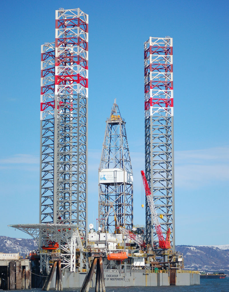 The Endeavour-Spirit of Independence jack-up rig is scheduled to leave the Deep Water Dock on Tuesday to make room for replacement of fenders on the dock. That work starts next week.-Photo by Michael Armstrong, Homer News