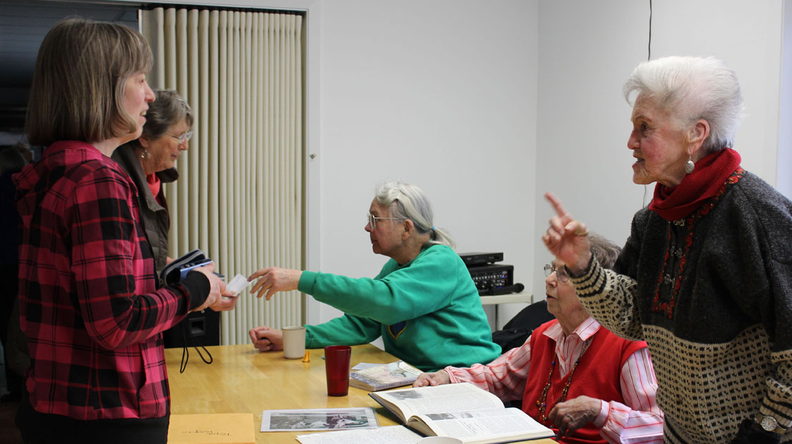 """Laura Lofgren Barton, center, Lorene Tepa Hansen Rogers, second from right, and Daisy Lee Bitter, right, share stories about Homer's early days at """"Meet the People,"""" an April 3 presentation co-sponsored by the Pioneers of Alaska and the Center for Alaskan Coastal Studies.-Photo by McKibben Jackinsky, Homer News"""