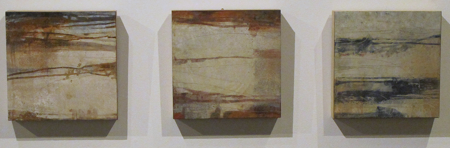Strata #1, Strata #2 and Strata #3 are inspired by archaeologist sketches of sidewalls in excavations.-Photo provided