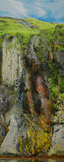 """Among the artwork to be auctioned at the Ritz , Mary Frische and Tom Collopy's """"Waterfall Aleutian Islands"""""""