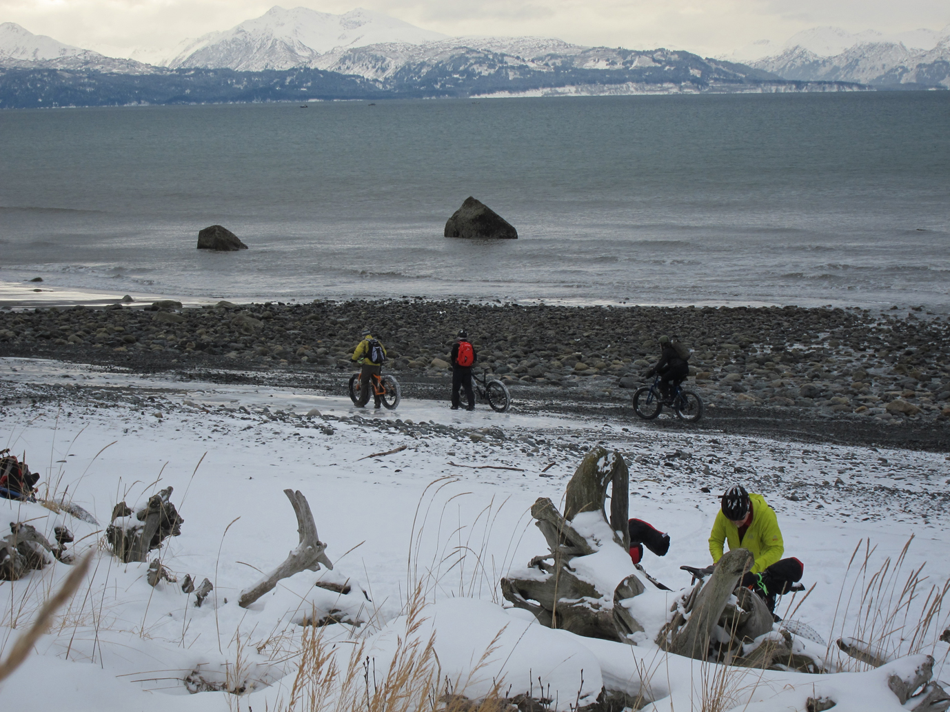 Participants in last weekend's Big Fat Bike Fest enjoy a ride and camaraderie at Bishop's Beach. Funds raised from the festival will go into an educational bike safety campaign.-Photo by Aryn Young