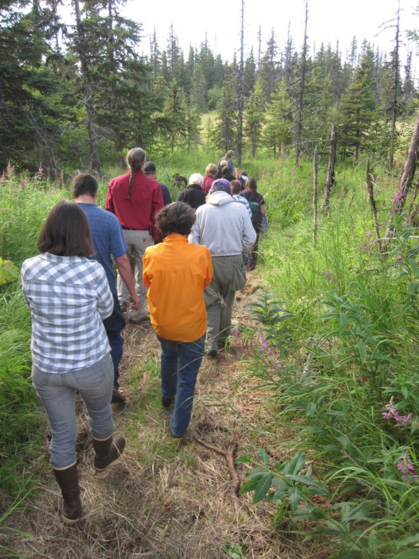 Those attending KHLT's 2013 annual meeting took a trolley ride up to the new Effler trail site on West Skyline Drive.-Photo provided