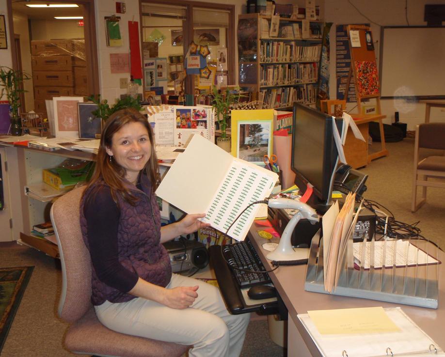 Cheryl Illg, WHES aide, works on the Lexile project at West Homer Elementary School's library.-Photo provided