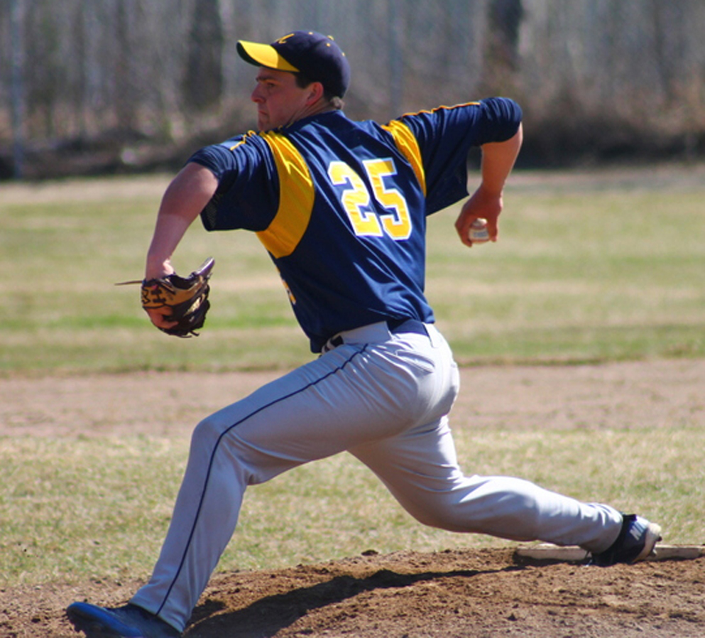 Mariner Willie Deaver, No. 25, pitches in the last game against Kenai Kardinals during the Region III tournament last weekend.-Photo by  Mary Hannah Bowe