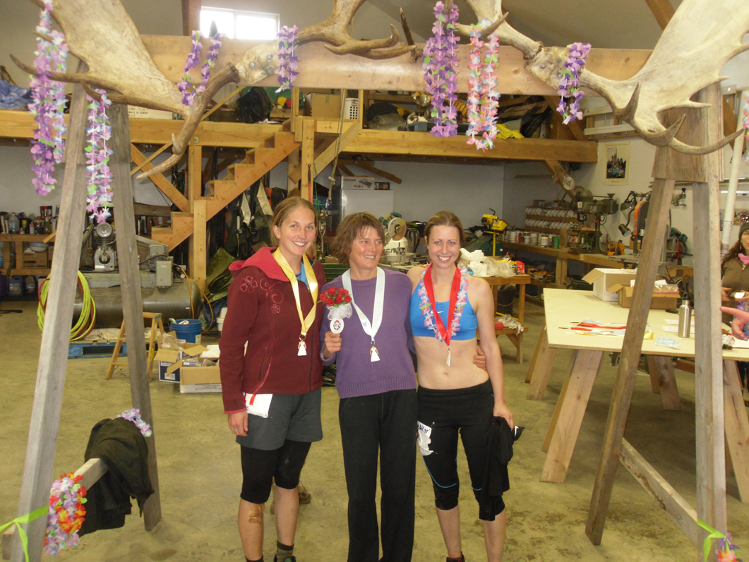 The top three women finishers in  Saturday's Run to the Altar, are, from left, Annie Ridgely, Jane Wiebe and Liz Roedl.-Photo by Jan Spurkland