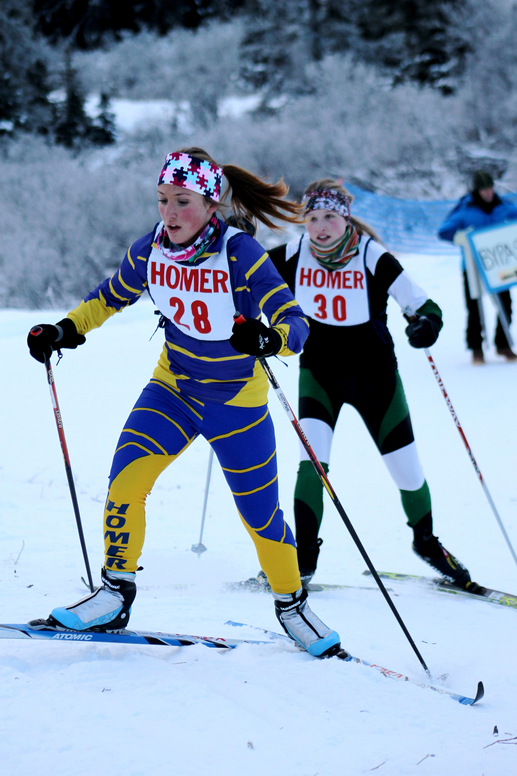 Rachel Ellert skis for the Mariners during Saturday's 6K Classic race of the Homer Invitational. The Mariner girls placed third in the ski meet.-Photo by Angelina Skowronski