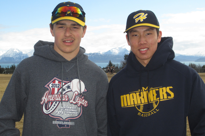 Tommy Bowe, left, and Nahoa Jette are co-captains of the Mariner baseball team.                               -Photo provided