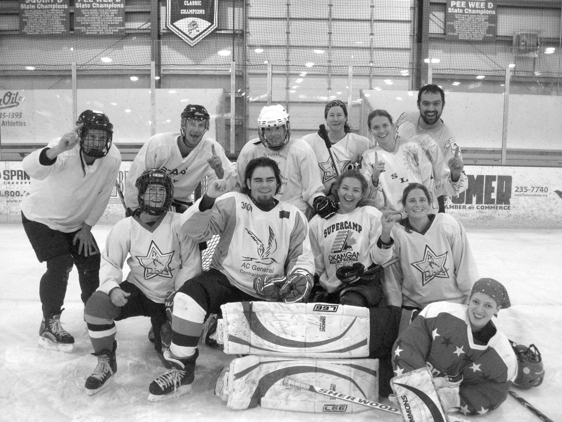 Members of the East End Moose pose for a celebratory photo after winning the 3rd Annual Coed Jamboree at Kevin Bell Arena last weekend. Teams were made up of players off all skill levels from as far away as Juneau.-Photo provided