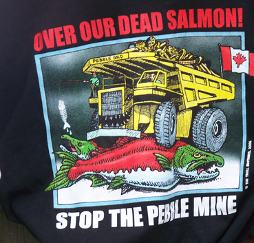 An anti-Pebble graphic covers a Renewable Resources Foundation T-shirt-Photo by McKibben Jackinsky, Homer News