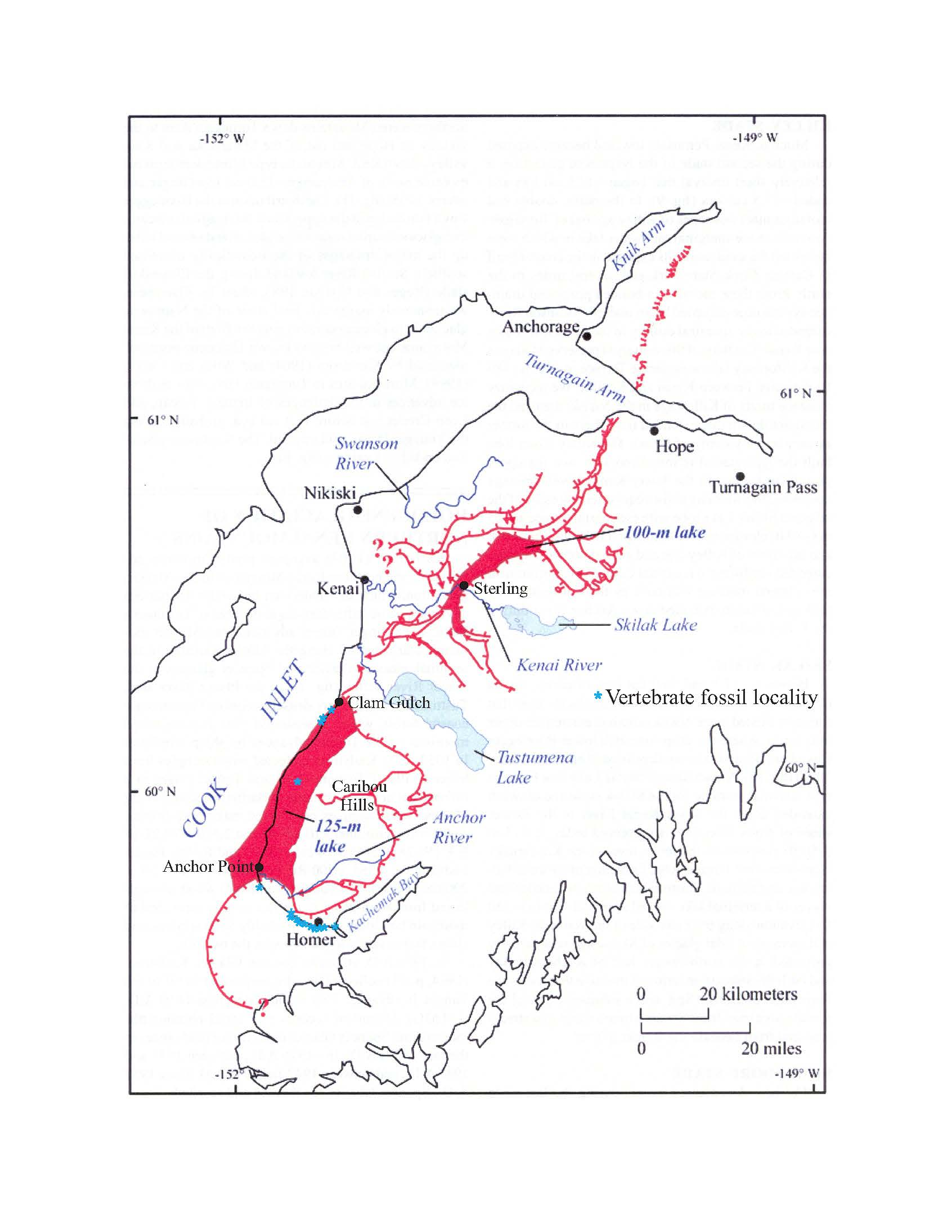 In this map, areas where fossils have been found are shown in blue. The red lines indicate glaciation during the stage 3 interglacial period, with the area toward Cook Inlet ice free, including a large lake, shown in red.