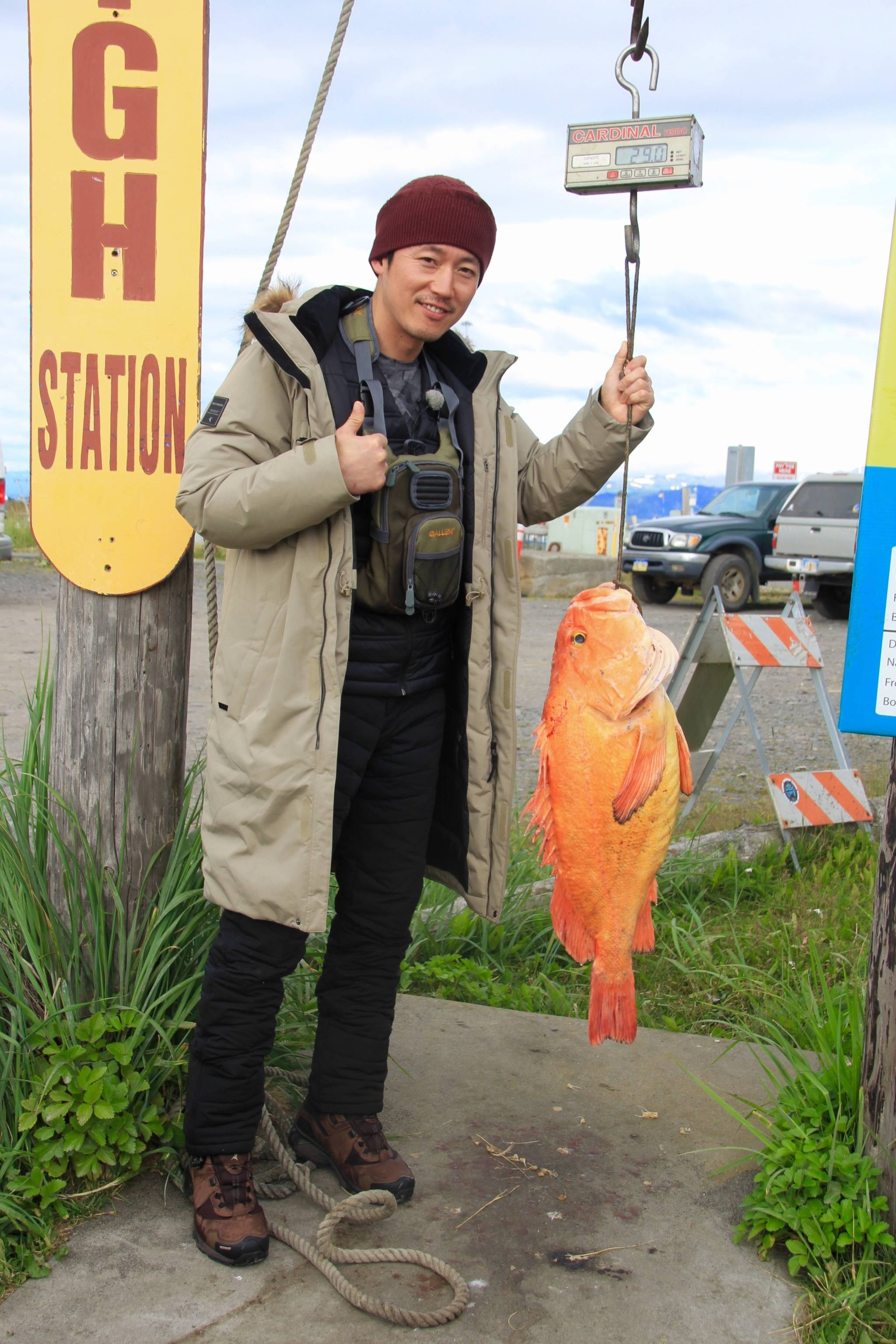 Korean pop star Jung Joon-young poses with a 21.4-pound yellow eye rockfish caught on July 30, 2018 while fishing with Captain Ross Hodek of Central Charters on the Spirit near Homer, Alaska. (Photo provided)