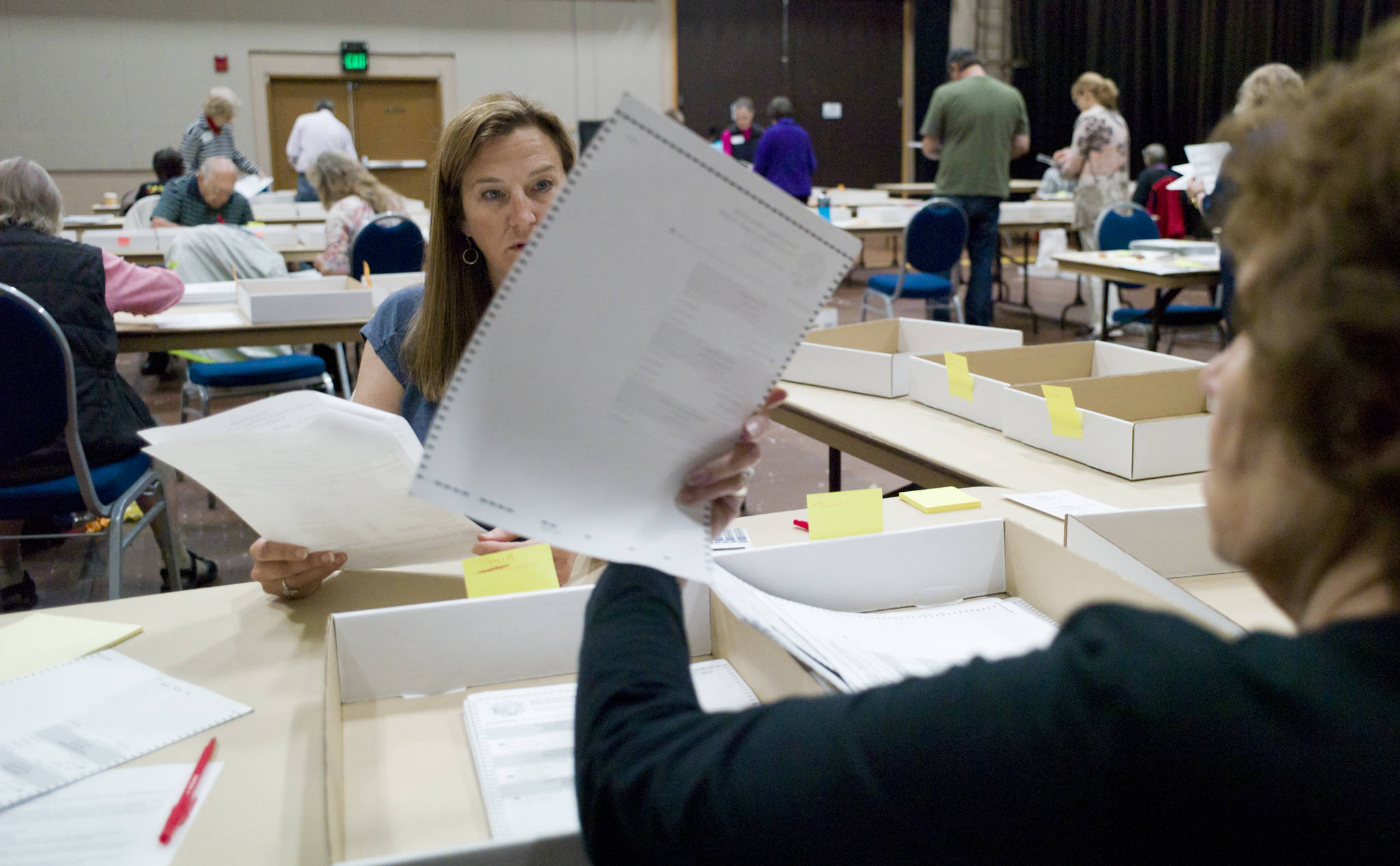 Elections workers hand count ballots after the 2016 statewide primary election. (Michael Penn | Juneau Empire)