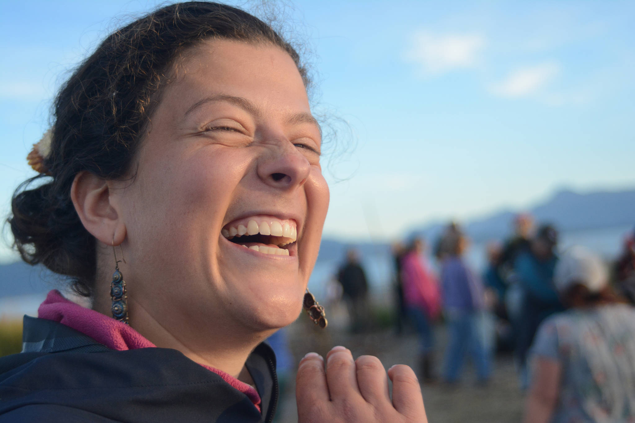Mira Klein smiles at the start of the 2018 Burning Basket, Dream, on Sept. 9 at Mariner Park, Homer, Alaska. (Photo by Michael Armstrong/Homer News)