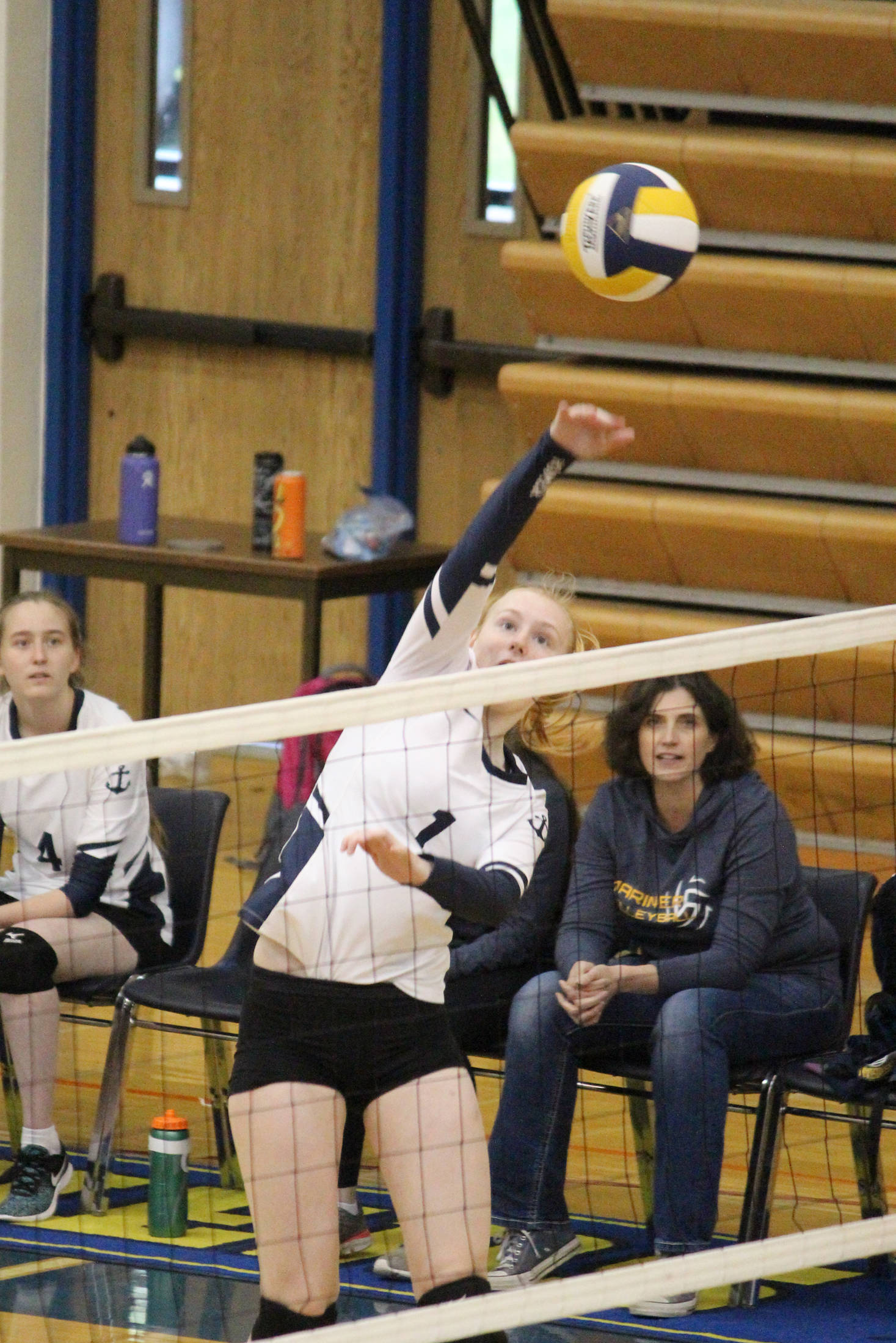 """<span class=""""neFMT neFMT_PhotoCredit"""">Photo by Megan Pacer/Homer News</span>                                 Homer's Kelli Bishop spikes the ball to the Seward Seahawks during a game Saturday, Sept. 22, 2018 in the Alice Witte Gymnasium in Homer, Alaska."""