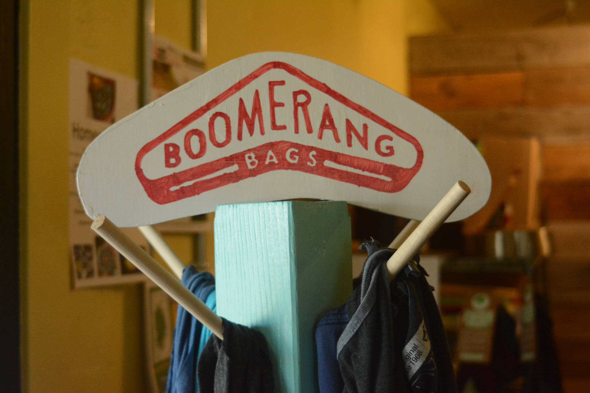 A display of Boomerang Bags is available at Sustainable Wares, shown here Tuesday, Sept. 25, 2018 on Ocean Drive in Homer, Alaska. Store owner Karen West said that people have been regularly using the bags. (Photo by Michael Armstrong/Homer News)