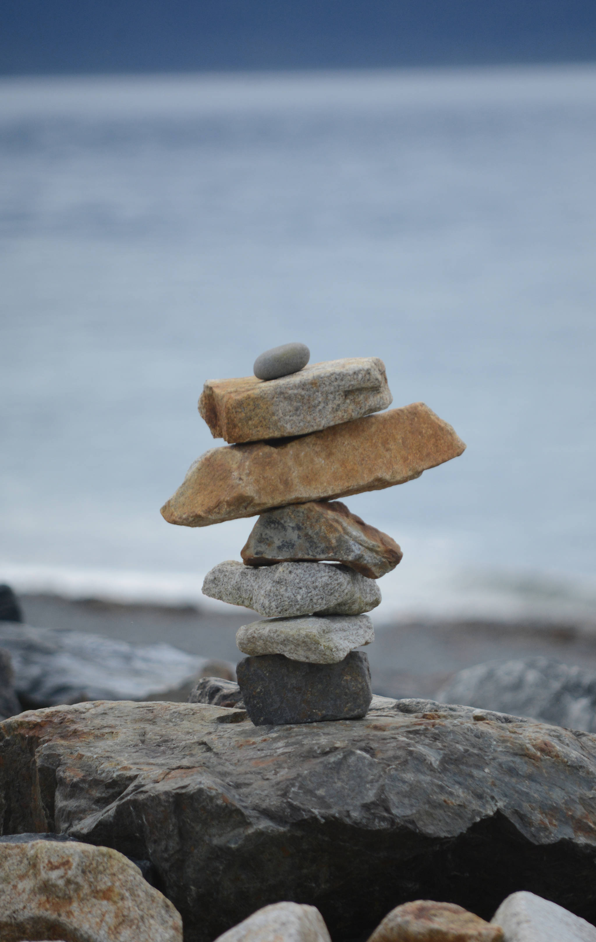 A rock sculpture is one of dozens an artist made along the Homer Spit last week, as seen in this photo taken Friday, Sept. 21, 2018, in Homer, Alaska. (Photo by Michael Armstrong/Homer News)