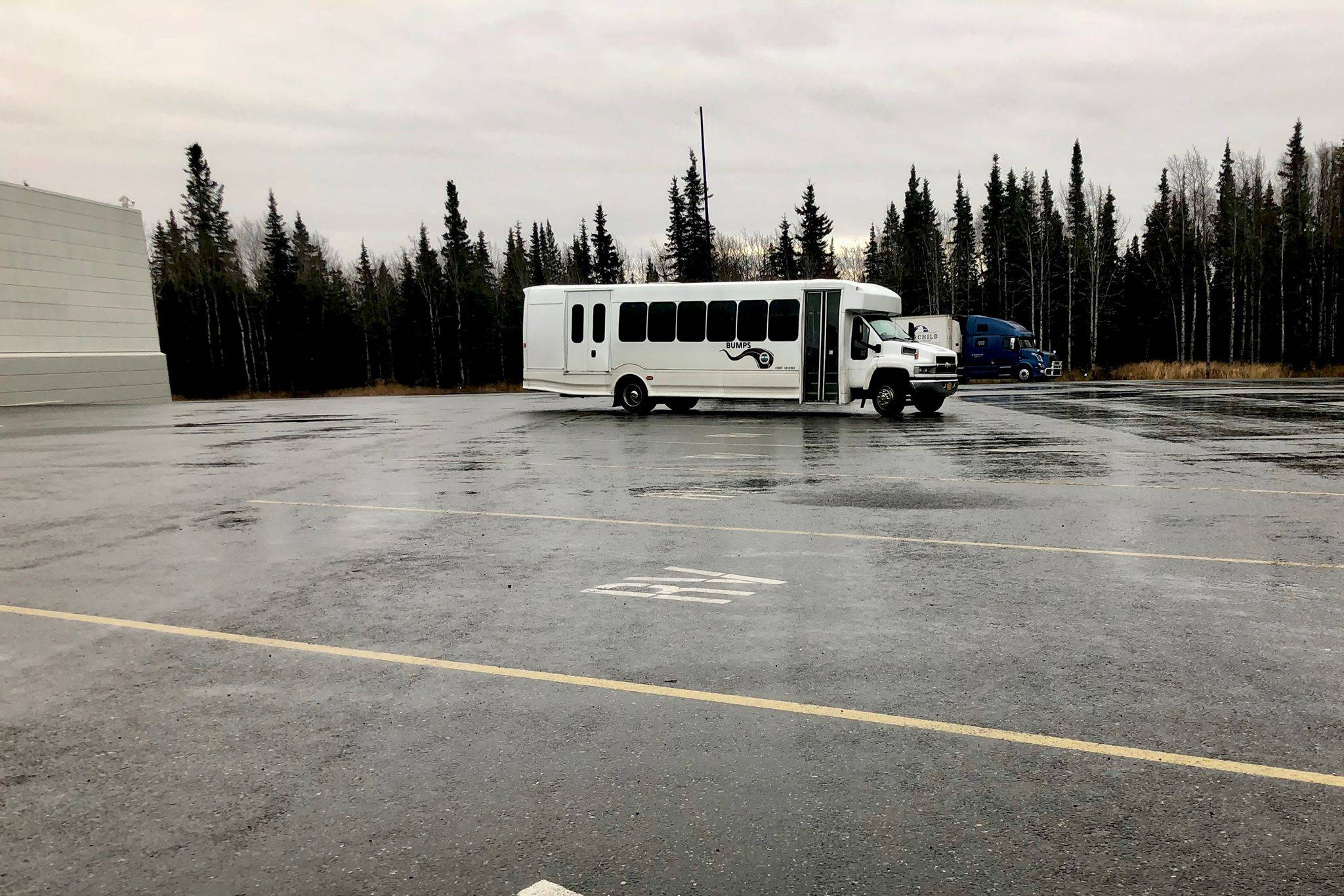 A BUMPS bus waits for passengers in the Walmart parking lot Monday in Kenai. (Photo by Victoria Petersen/Peninsula Clarion)