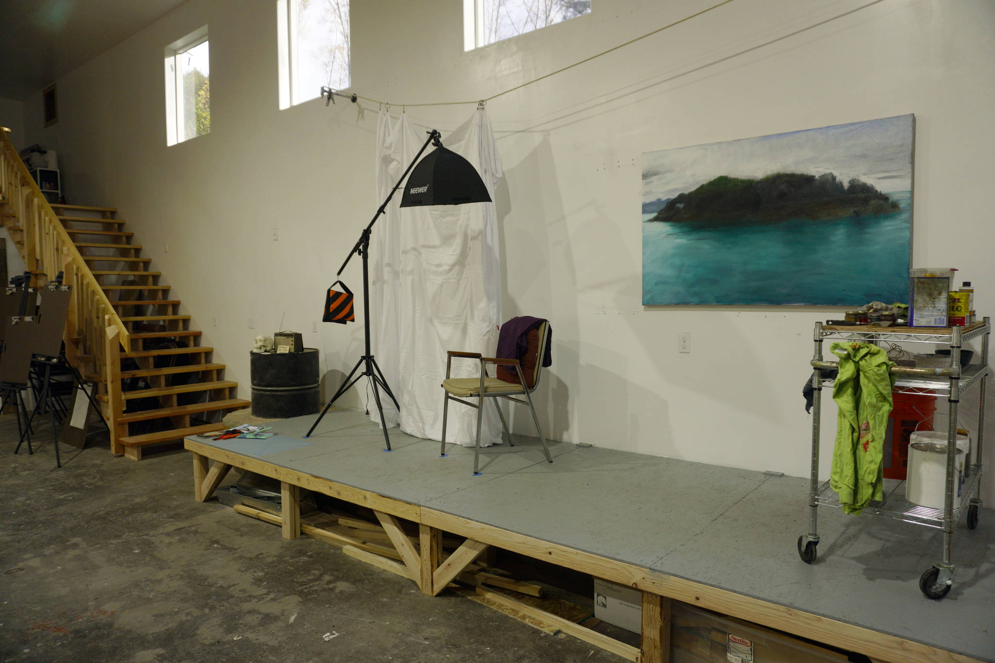 The Shop, shown here Tuesday, Oct. 16, 2018 in Kachemak City, Alaska, includes a posing space for portrait classes. Artists Elissa and David Pettibone started the art space in August. (Photo by Michael Armstrong/Homer News)