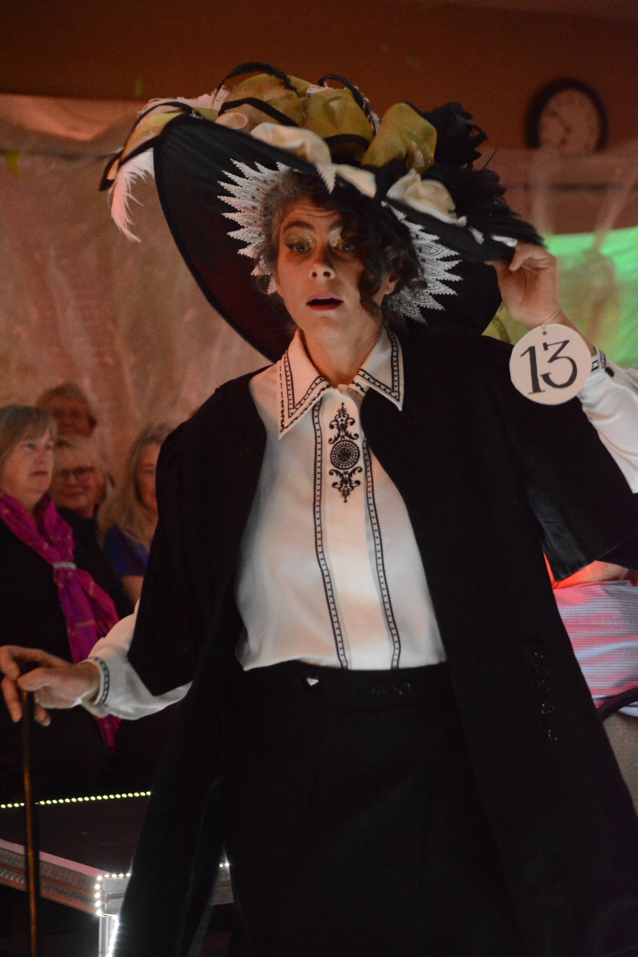 """Christine Kulcheski models """"Time Walker"""" by Marie Walker, based on a photograph of her husband's grandmother, at the 2018 Wearable Arts on Nov. 17, 2018, in Homer, Alaska. (Photo by Michael Armstrong/Homer News)"""