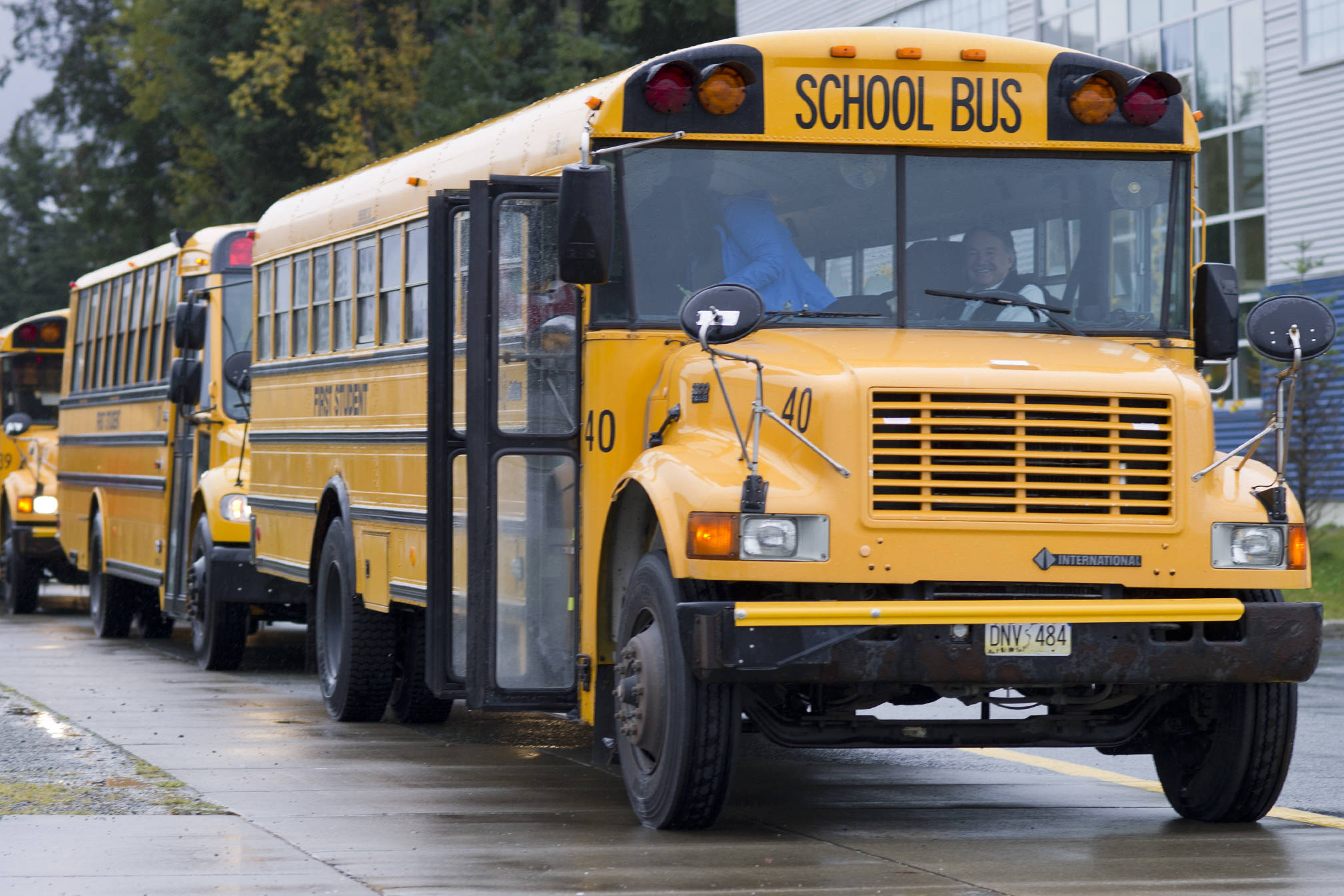 School buses drop students off at Thunder Mountain High School on Monday, Sept. 21, 2015. (Michael Penn   Juneau Empire)