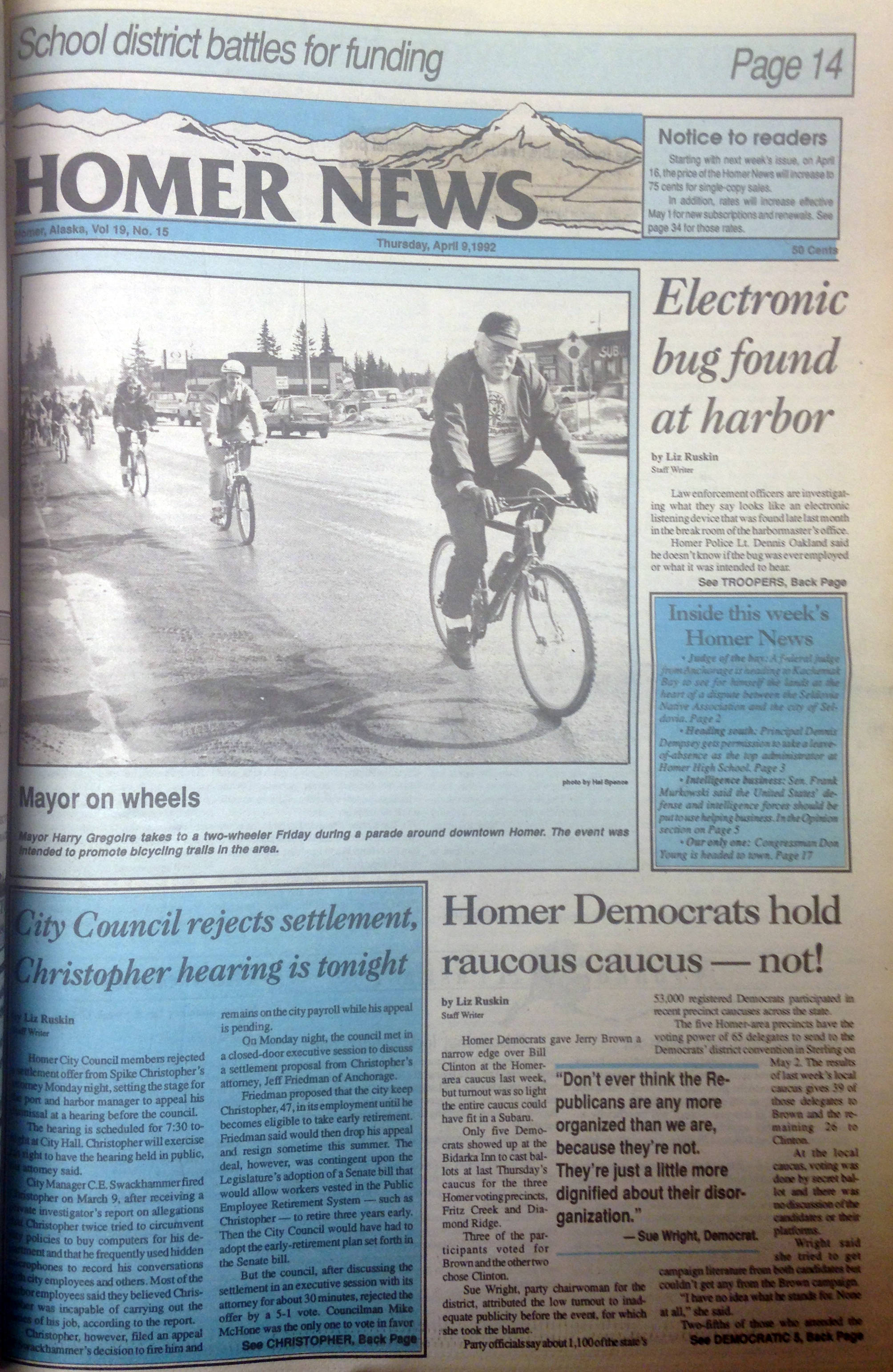 The cover of the April 3, 1992 Homer News, the last issue before the price increased from 50 cents to 75 cents. (Photo by Michael Armstrong/Homer News)