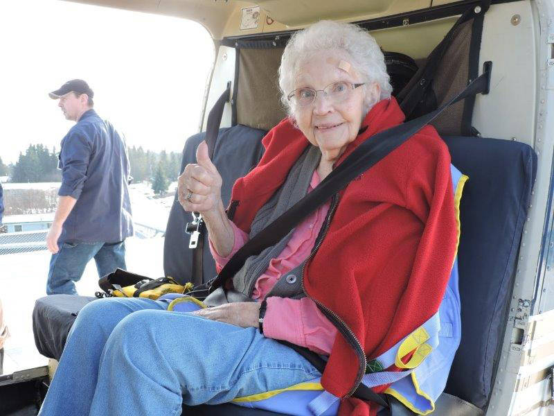Local resident Betty George, 84, prepares for a ride on a helicopter on Feb. 6, 2019 at South Peninsula Hospital in Homer, Alaska. (Photo courtesy South Peninsula Hospital)