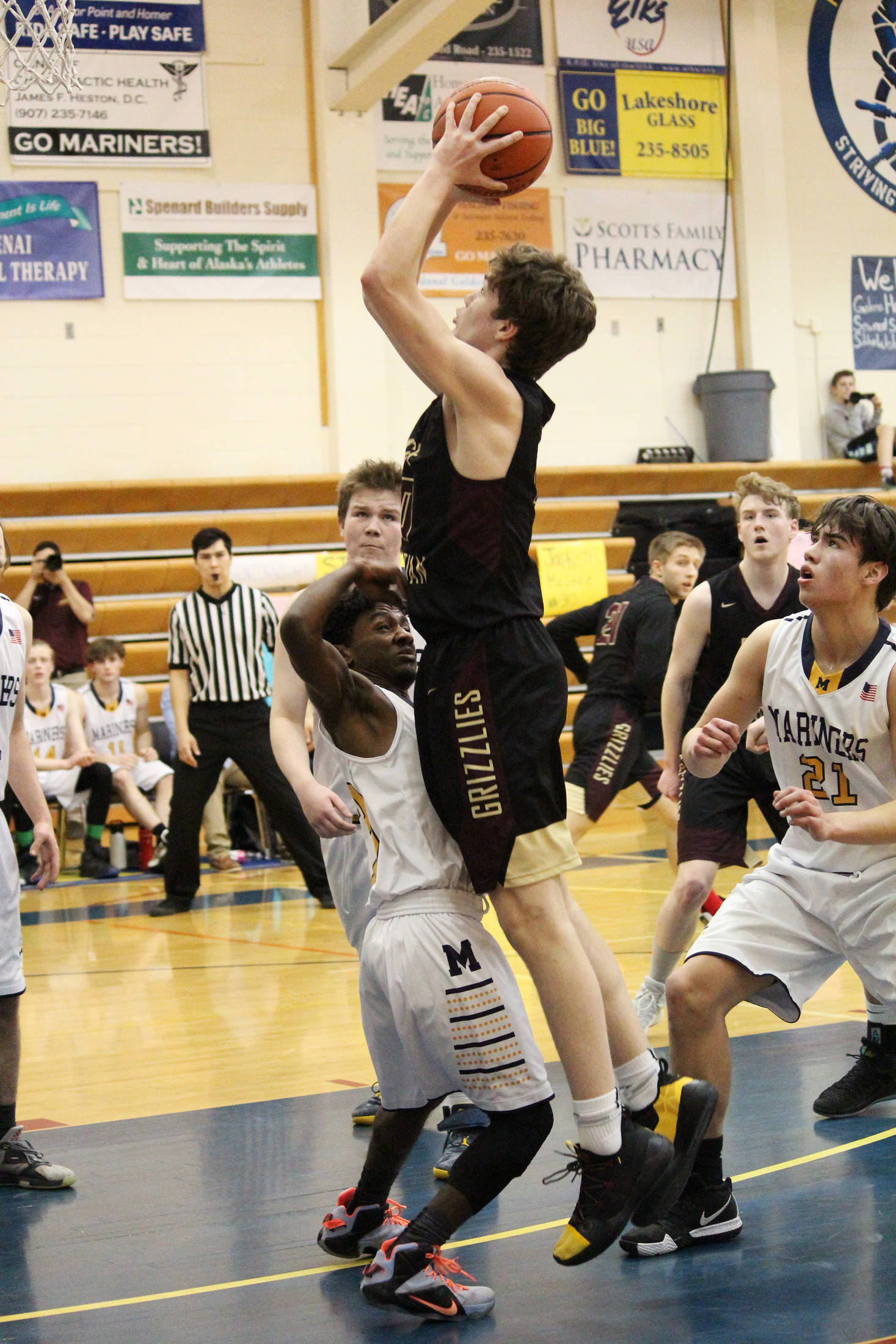 Nathan Ivanoff of Grace Christian School takes a shot at the Homer basket during a Friday, Feb. 22, 2019 game in Homer, Alaska. (Photo by Megan Pacer/Homer News)