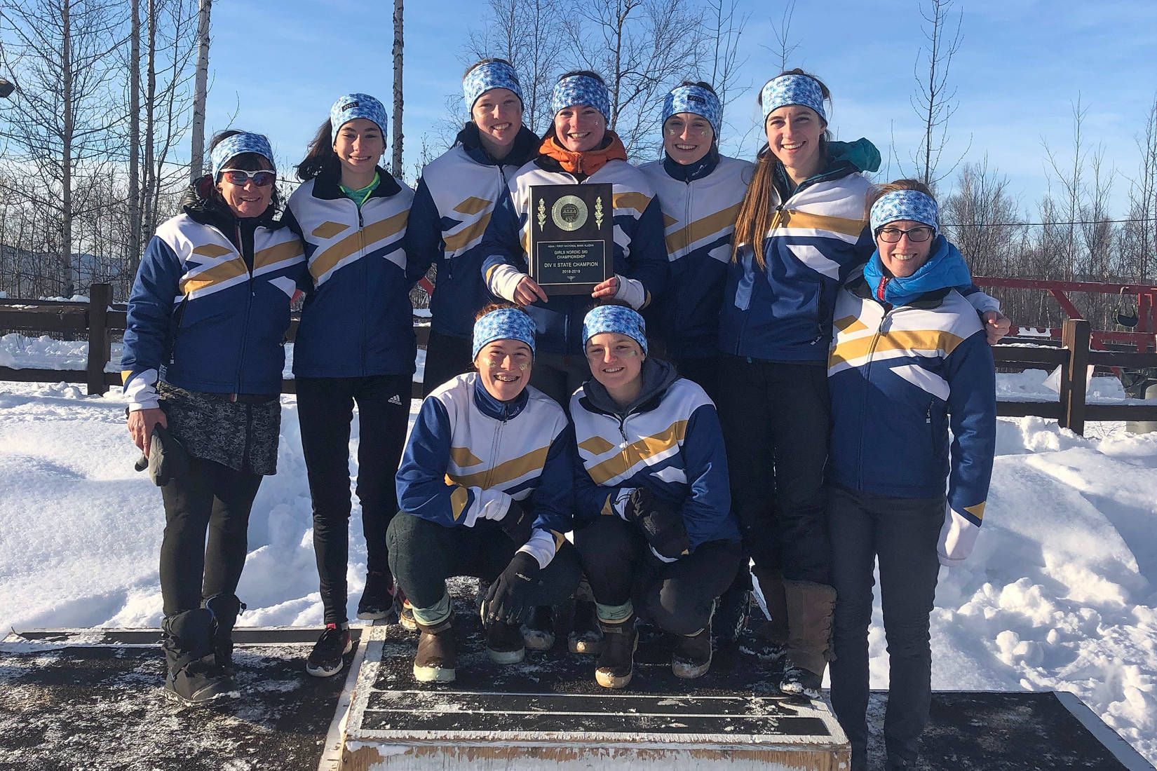 Members of the Homer girls cross-country ski team pose with their first place award for the small schools division for the state skiing championship meet held in Fairbanks, Alaska the weekend of Feb. 22-23, 2019. (Photo courtesy Alison O'Hara)