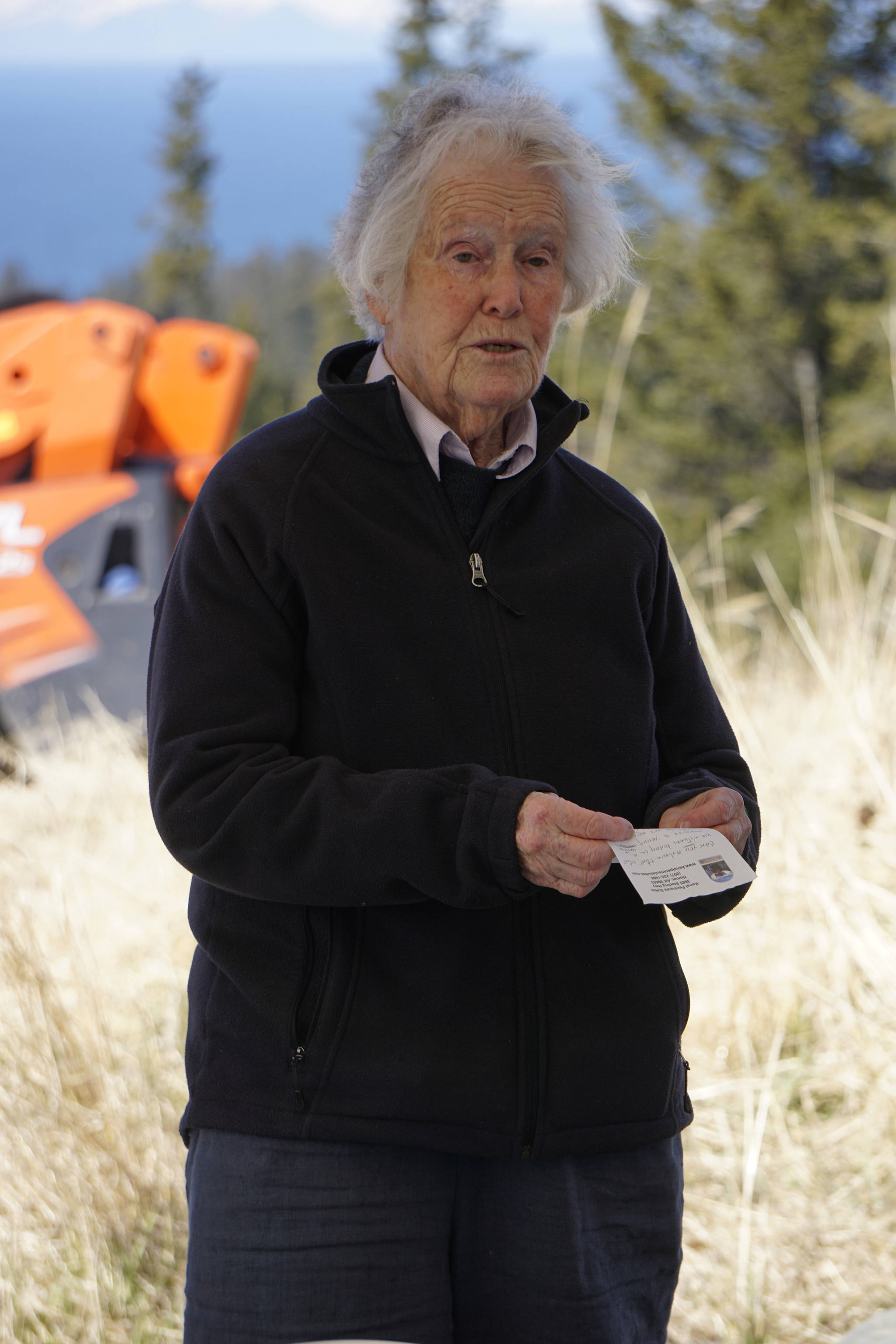 Nancy Skinner Nordhoff speaks at groundbreaking ceremonies for the Storyknife Writers Retreat last Saturday, May 4, 2019, at the retreat property in Homer, Alaska. Nordhoff founded Hedgebrook, Whidbey Island, Washington, the first women's writer retreat in the United States, that was the model for Storyknife. Storyknife founder Dana Stabenow attended Hedgebrook 30 years ago.Construction started this month on the main house and cabins that will in a year house visiting women writers. (Photo by Michael Armstrong/Homer News)