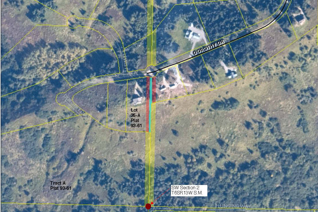 This map and aerial photo prepared by the Alaska Department of Natural Resources shows the Dorothy Drive area and the section line property owners seek to vacate. The large home in the center of the map is owned by country-western singer Zac Brown.
