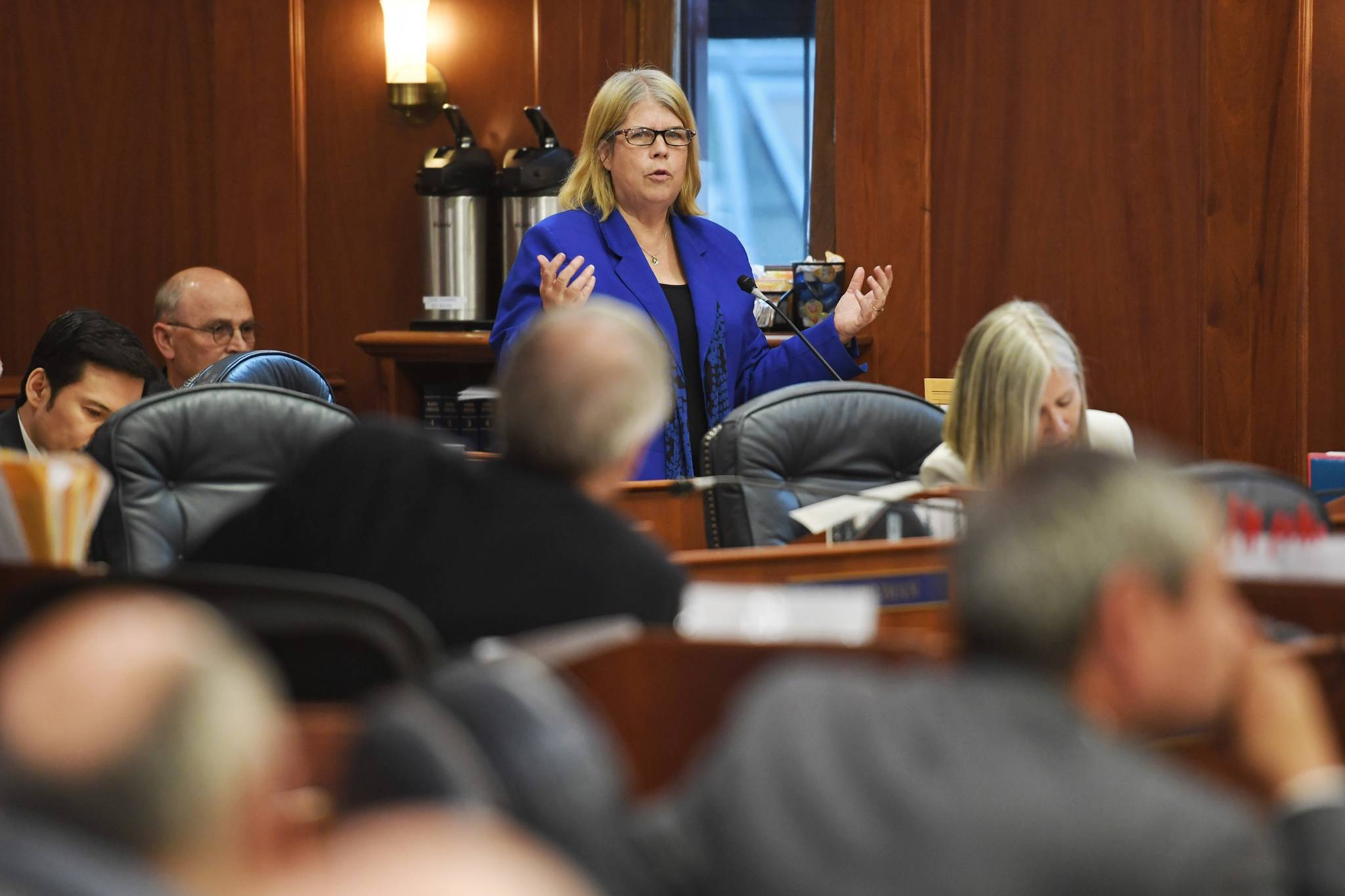 Rep. Tammie Wilson, R-North Pole, speaks against an override vote during a Joint Session of the Alaska Legislature to vote on an override of Gov. Mike Dunleavy's budget vetoes at the Capitol on Wednesday, July 10, 2019. (Michael Penn   Juneau Empire)
