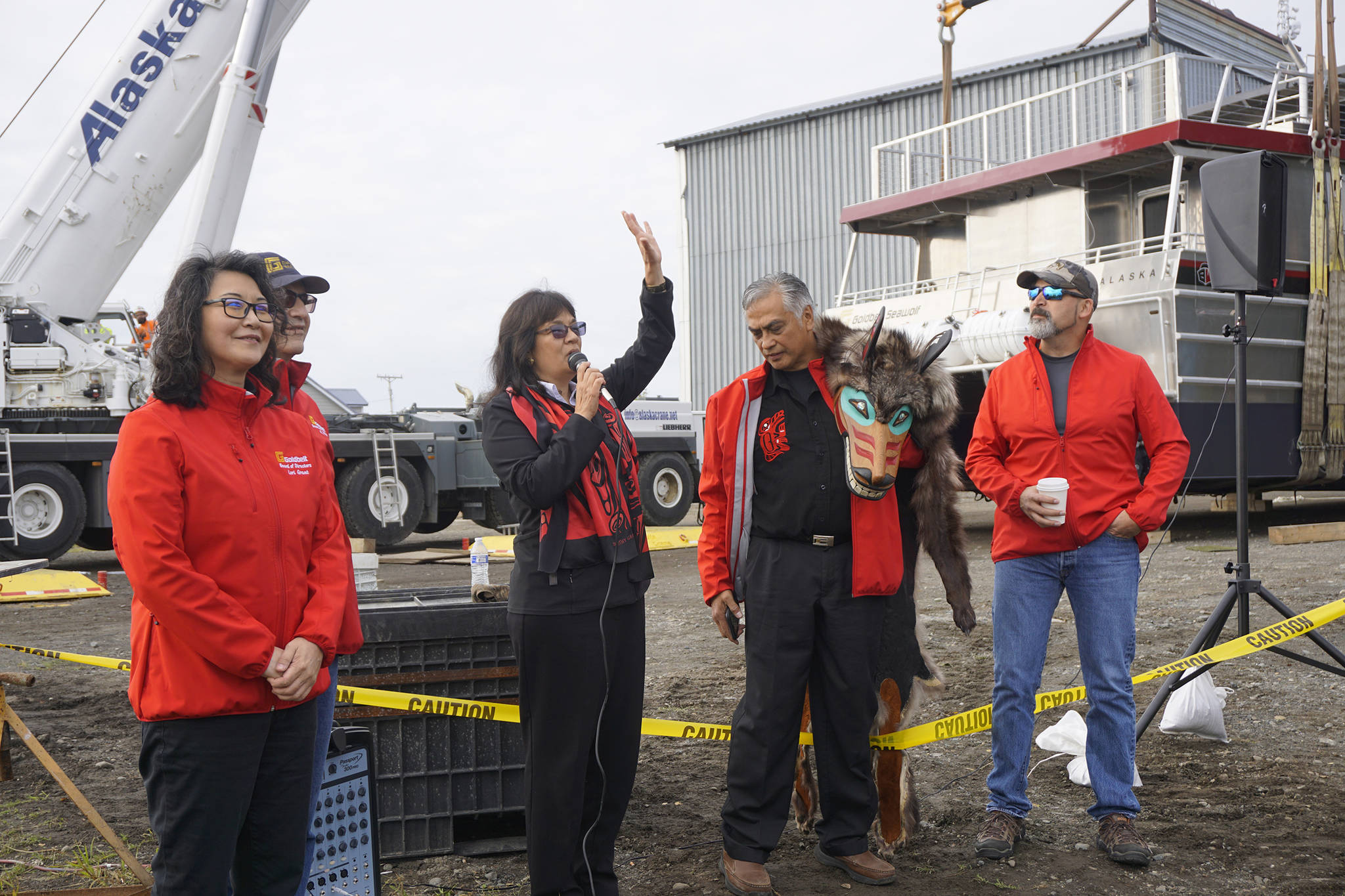 Katherine Eldemar, vice-chair of the board of directors of Goldbelt Inc., speaks at the launch of the Goldbelt Seawolf on Tuesday, Sept. 10, 2019, at the Northern Enterprises Boatyard in Homer, Alaska. (Photo by Michael Armstrong/Homer News)
