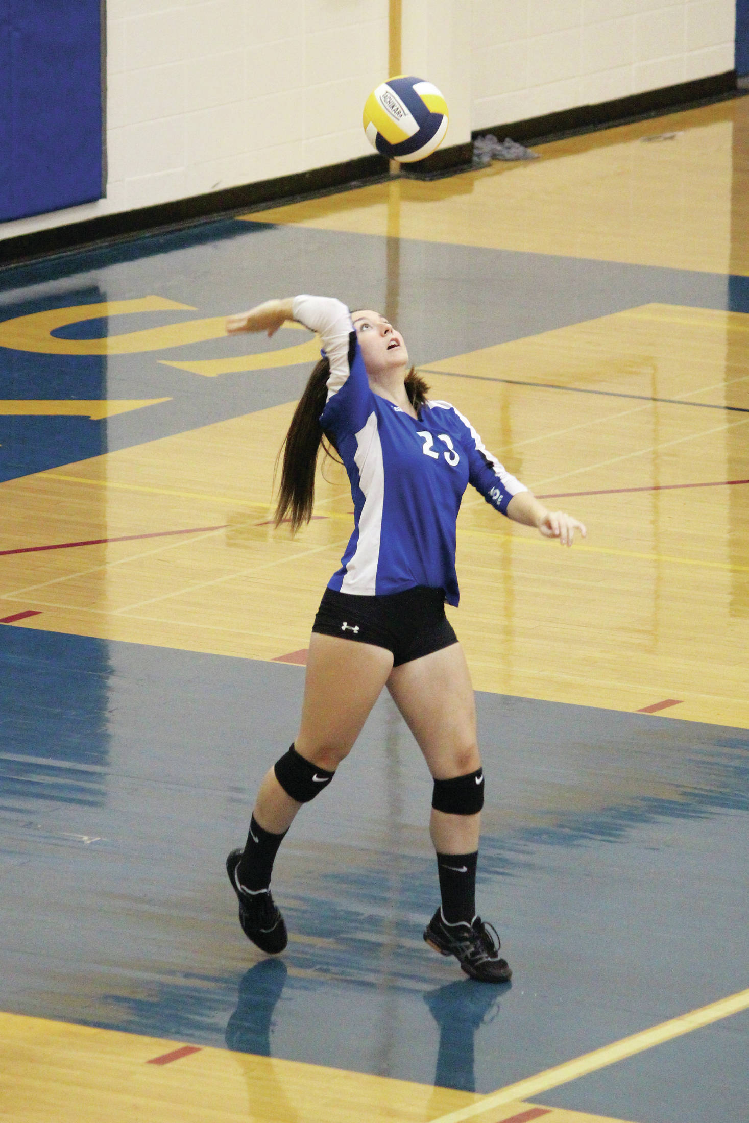 Palmer's Aurora Davidson serves the ball during a Thursday, Sept. 12, 2019 volleyball game against Homer High School at the Alice Witte Gymnasium in Homer, Alaska. (Photo by Megan Pacer/Homer News)
